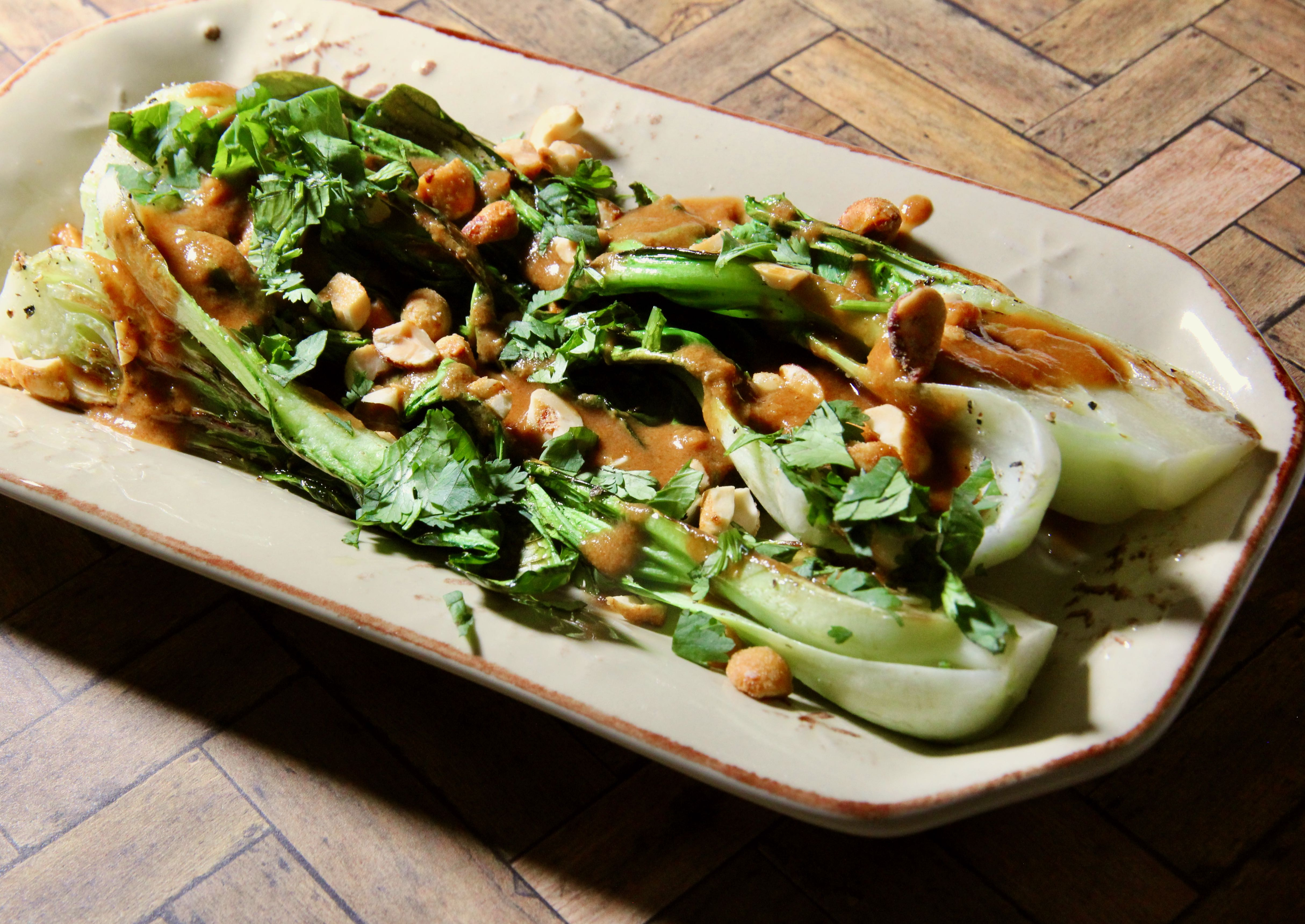 Baby Bok Choy with Thai Peanut Sauce lutzflcat
