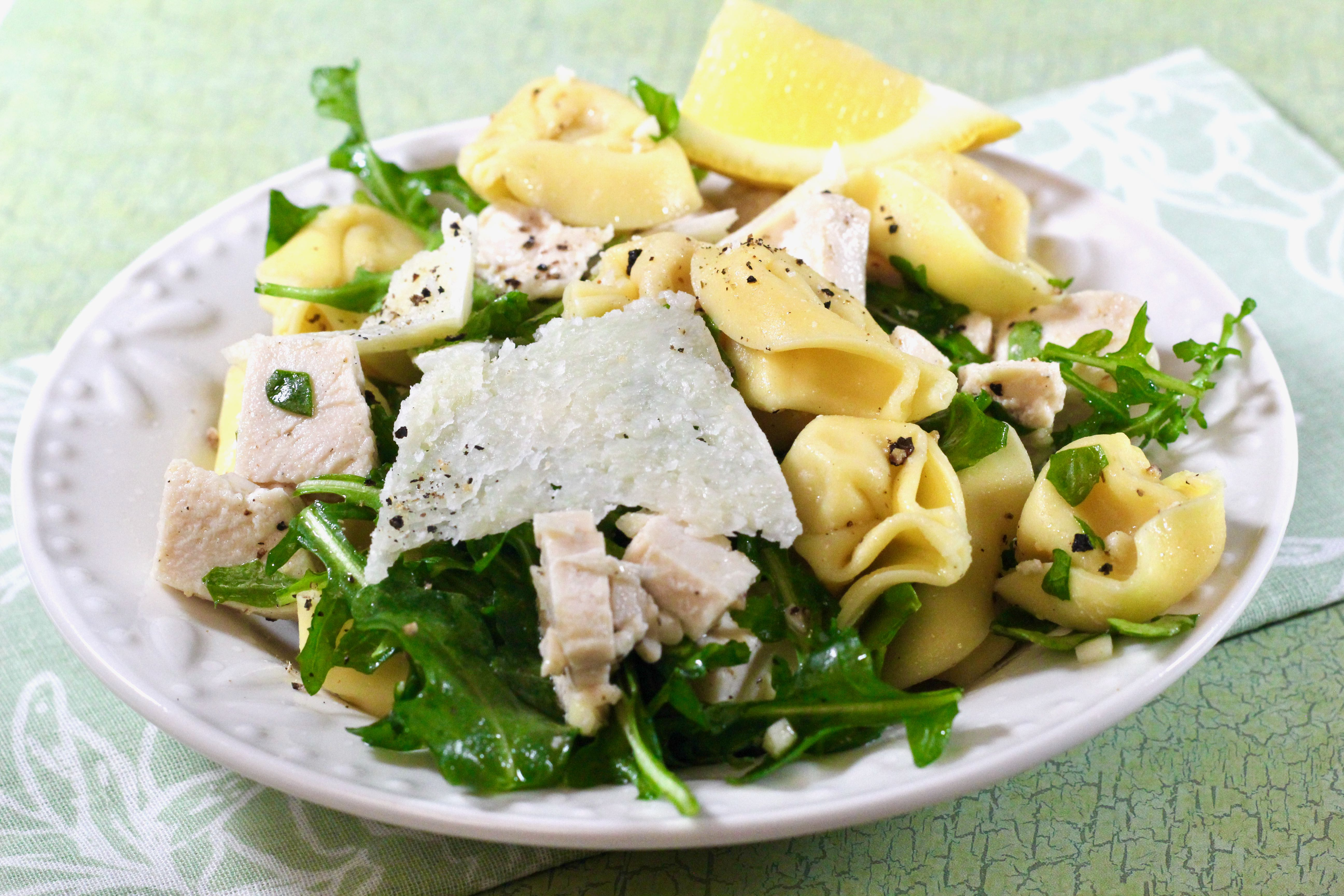 Tortellini, Chicken, and Arugula Salad for Two