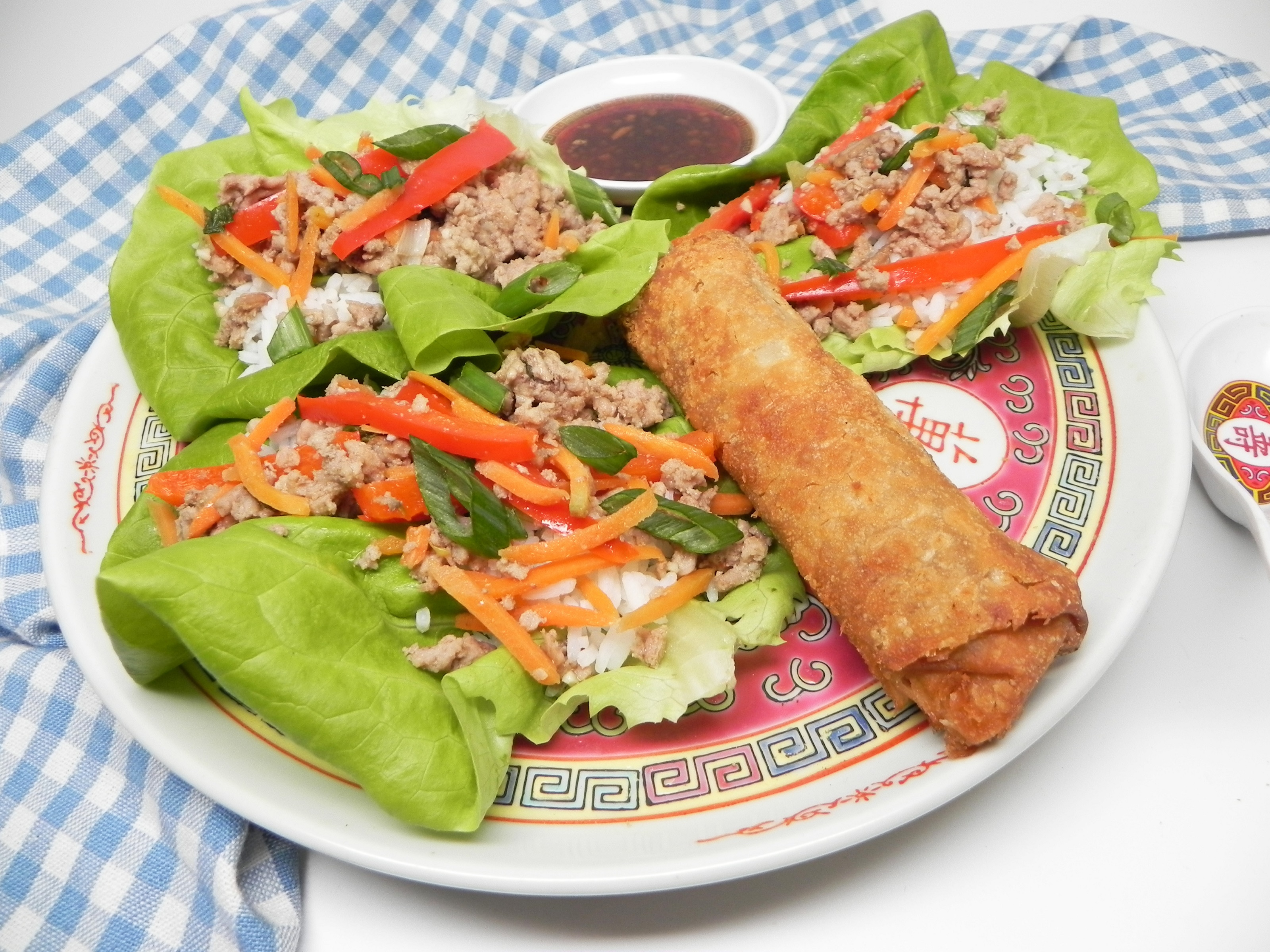Ground Turkey Lettuce Wraps with Soy-Ginger Dipping Sauce
