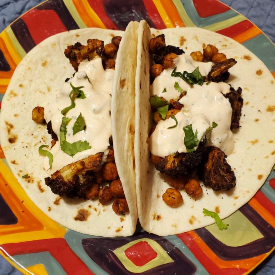 Air Fryer Vegetarian Cauliflower and Chickpea Tacos