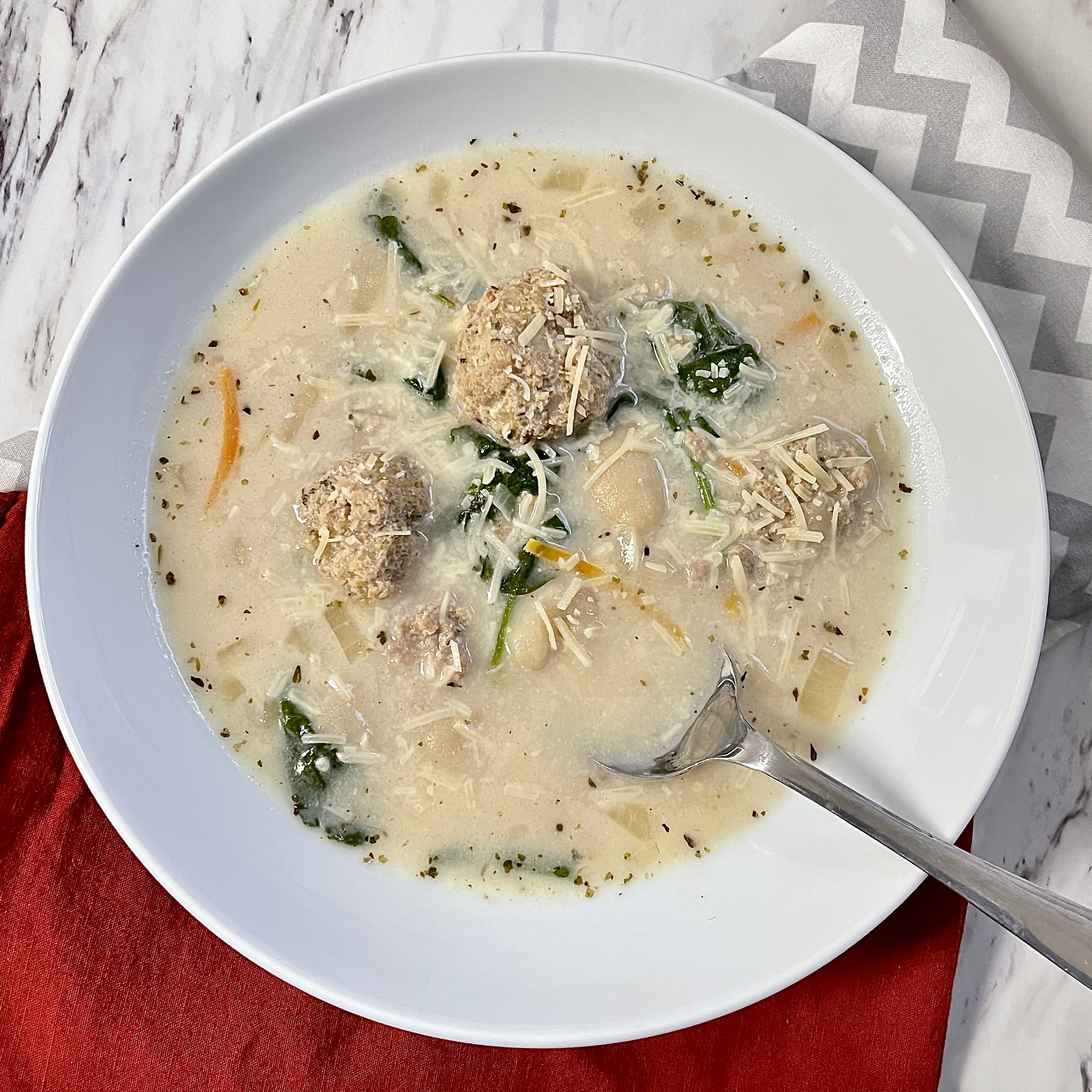 Gnocchi, Spinach, and Meatball Soup