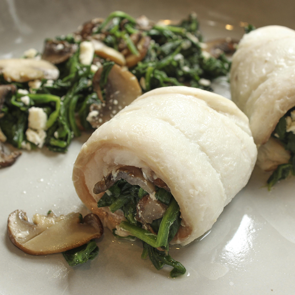 Spinach-Stuffed Flounder with Mushrooms and Feta Trusted Brands