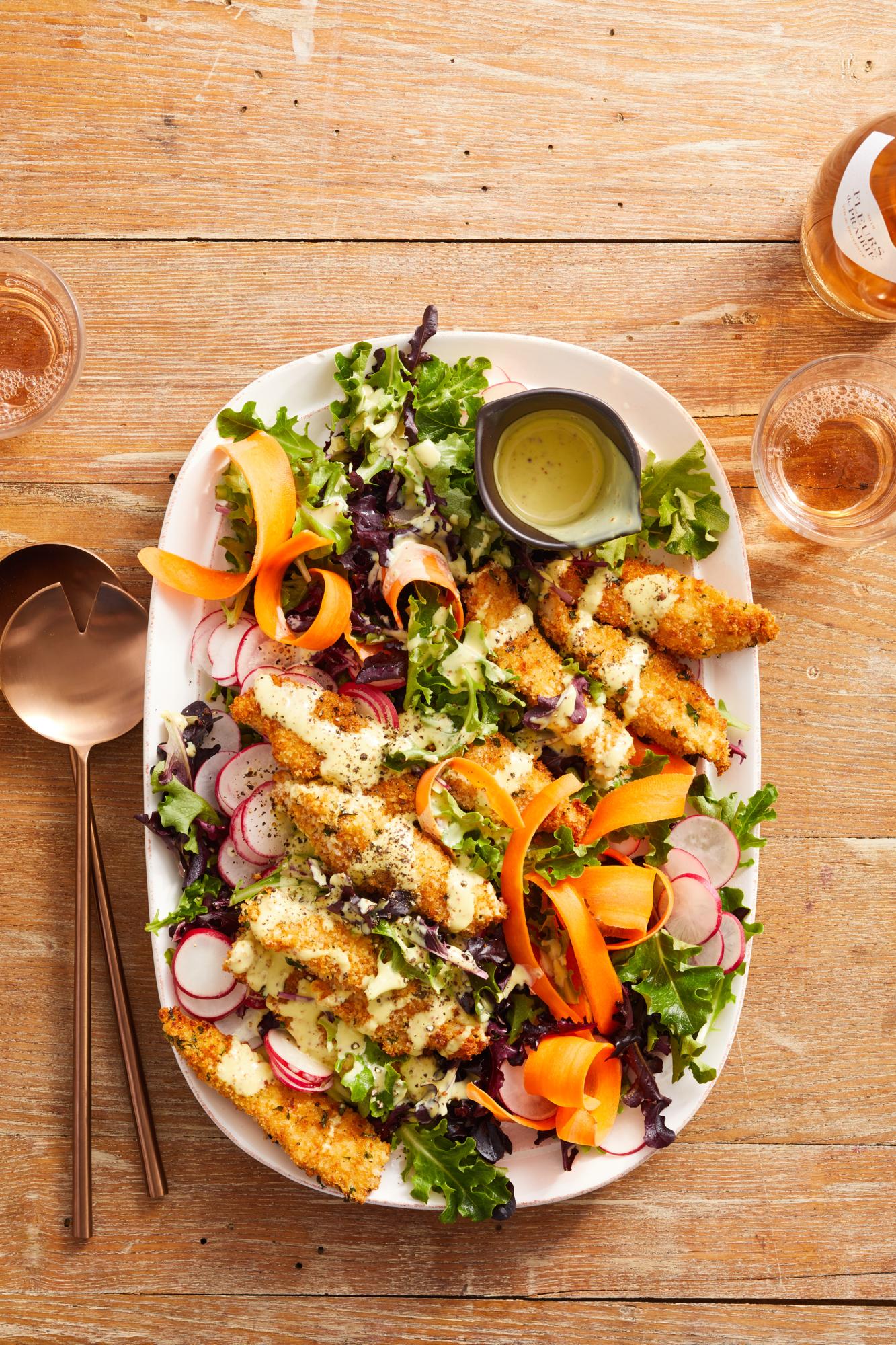 Crispy Chicken Salad with Yummy Honey Mustard Dressing