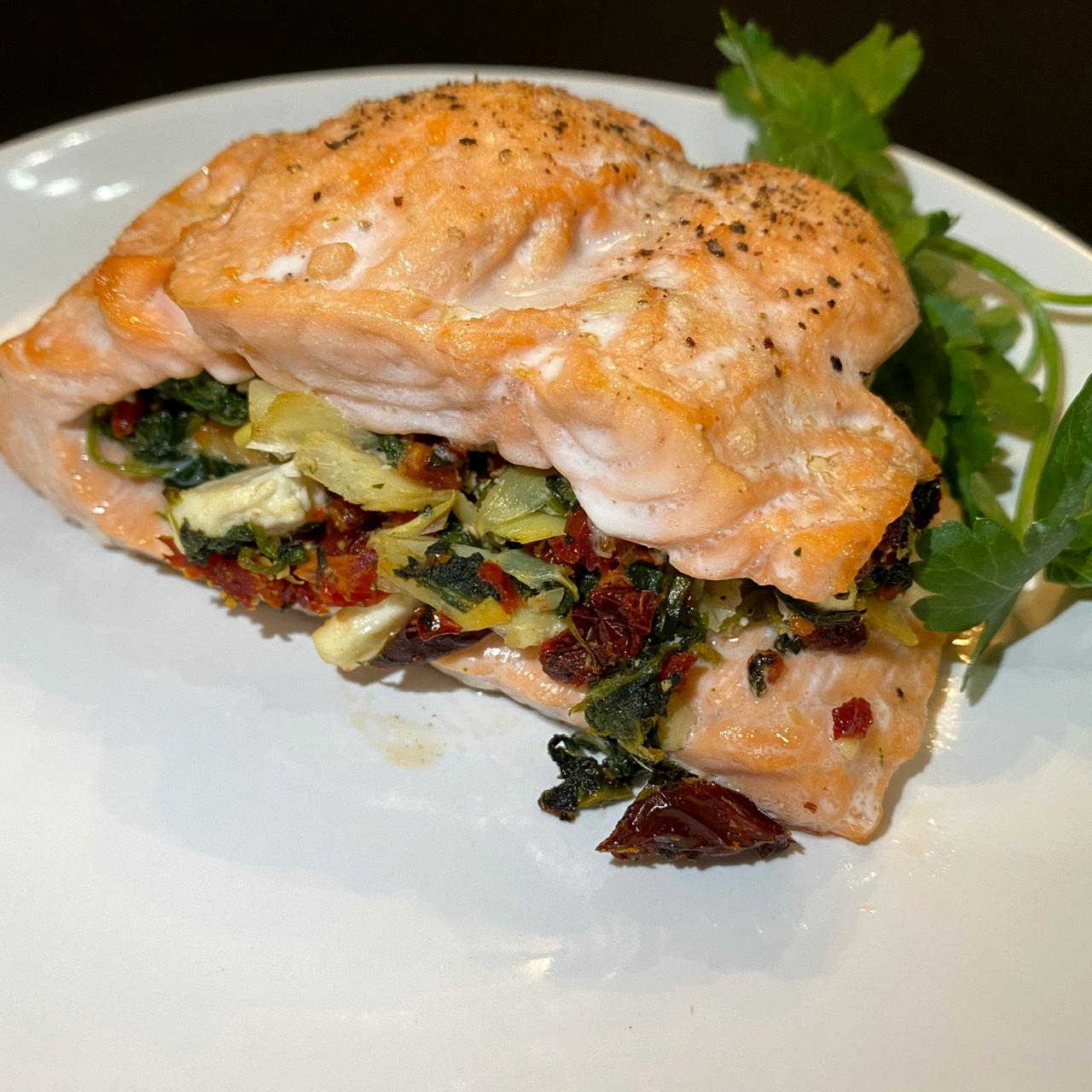 Pan-Seared Mediterranean Stuffed Salmon