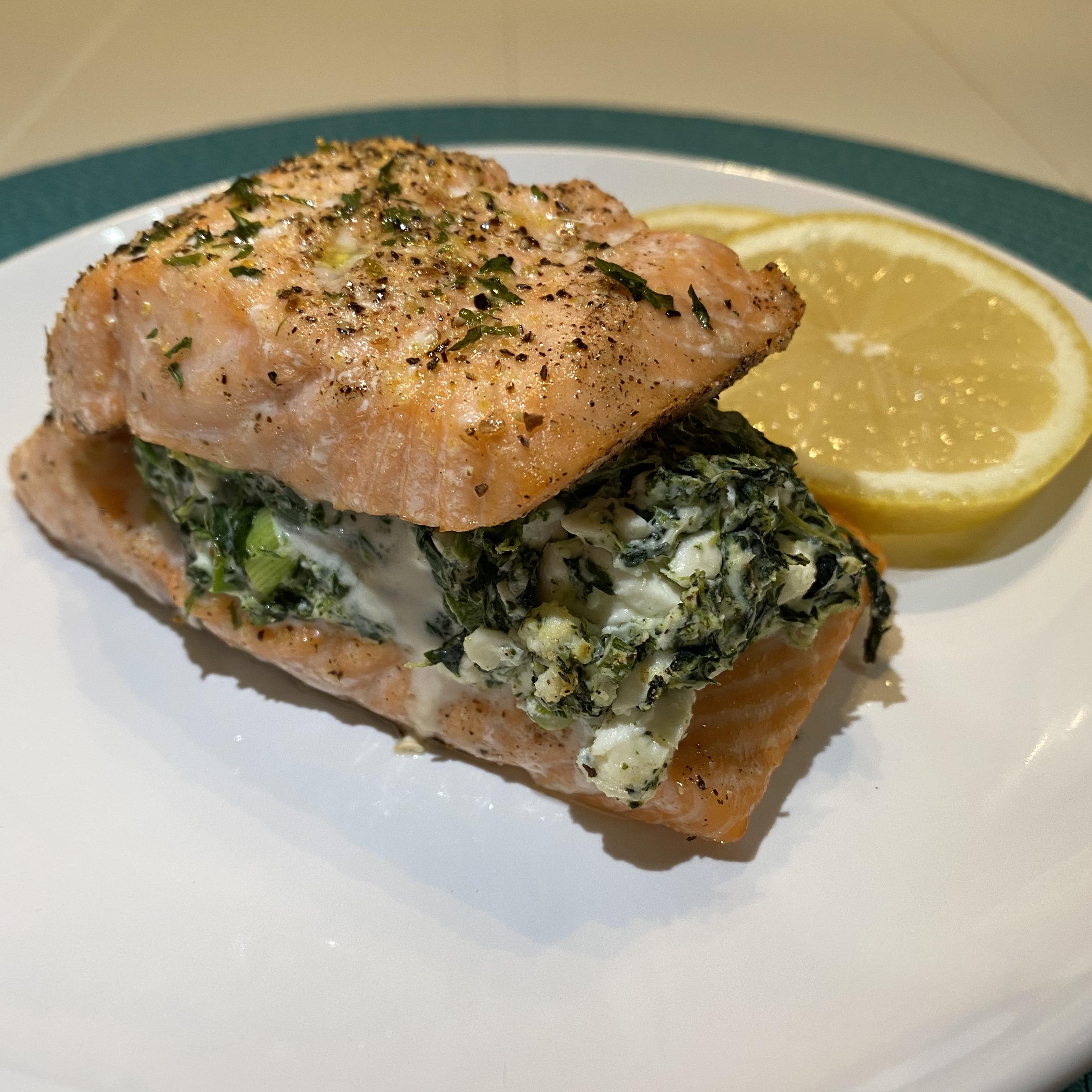 Feta-Spinach Stuffed Salmon
