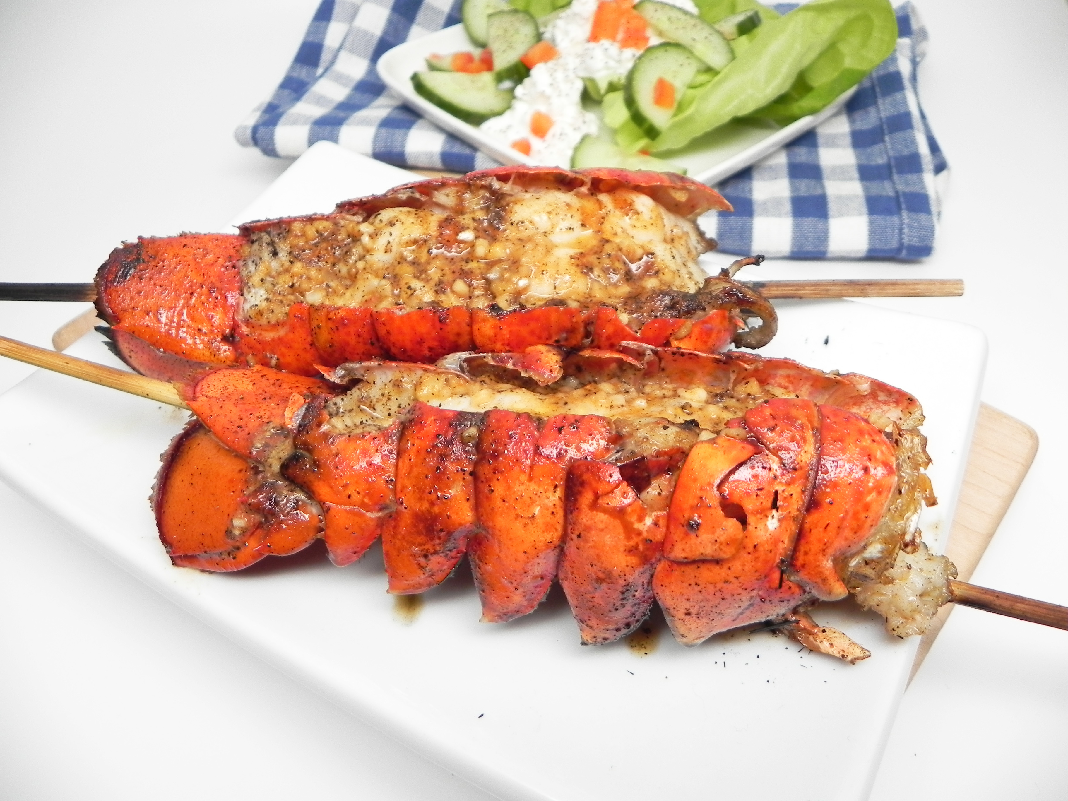 Grilled Lobster Tails with Garlic Butter