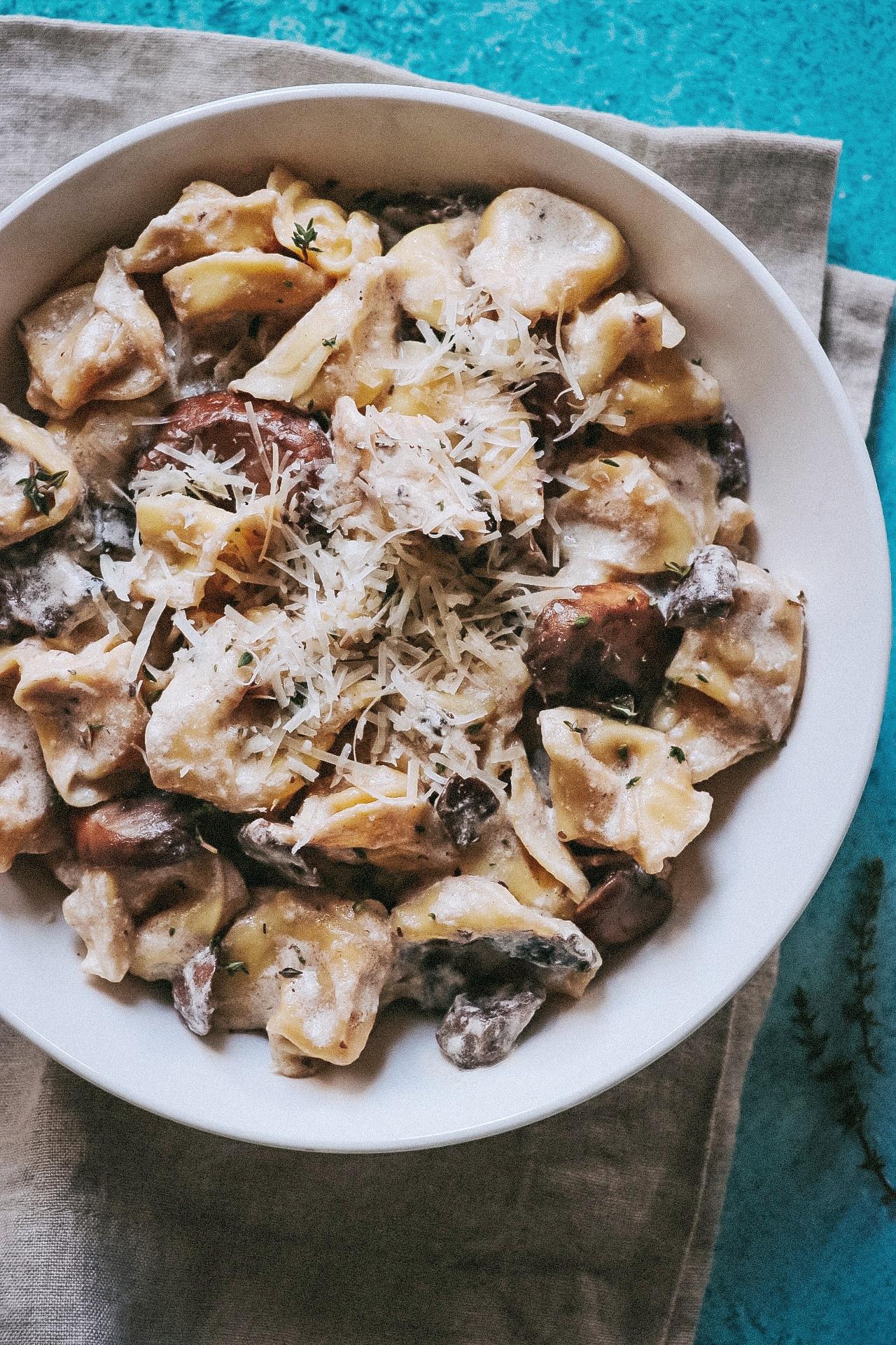 Creamy Mushroom Tortellini Alfredo