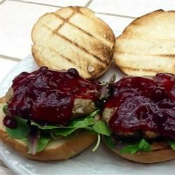 Grilled Turkey Burgers with Cranberry Horseradish Dressing