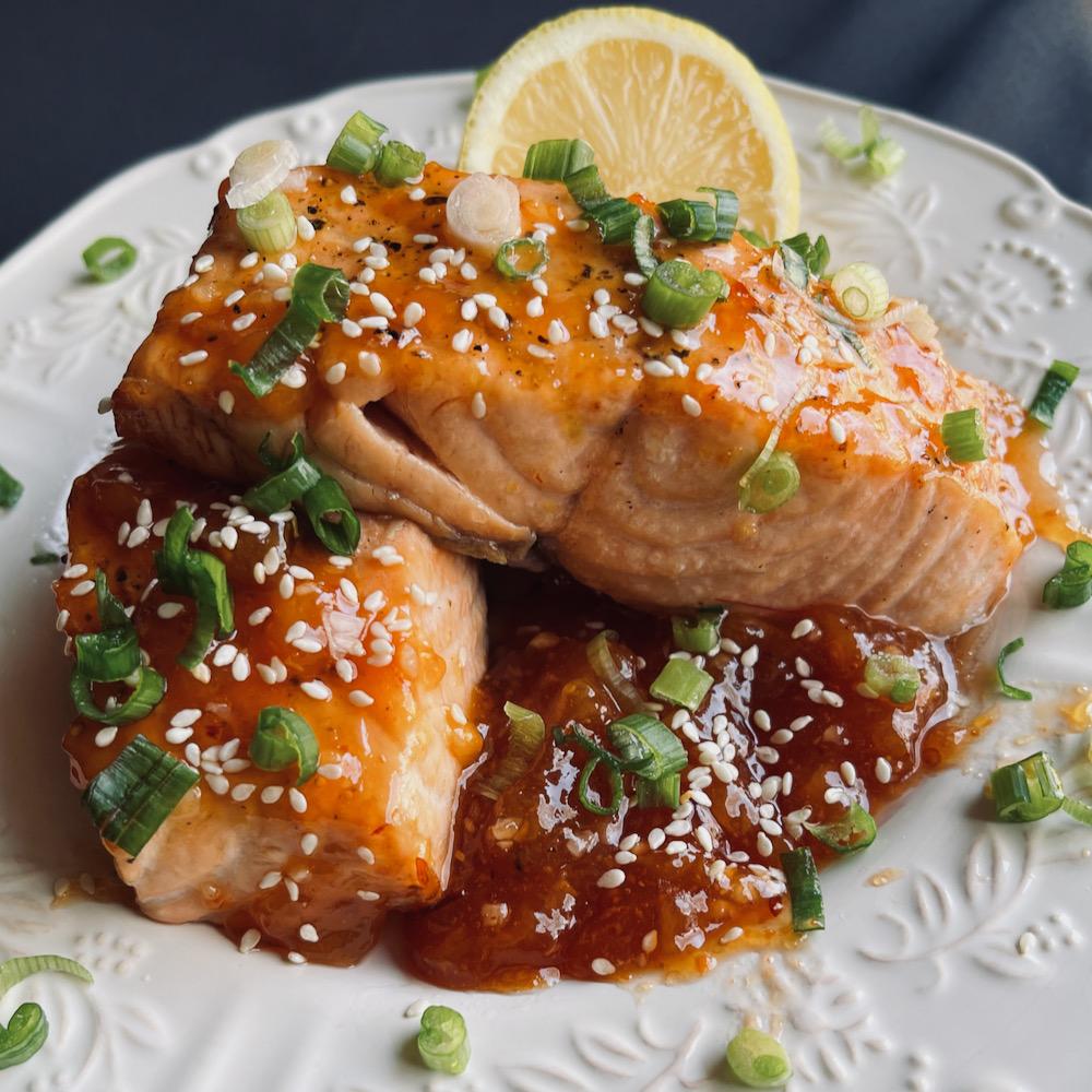 Air Fryer Salmon with Spicy Peach Glaze