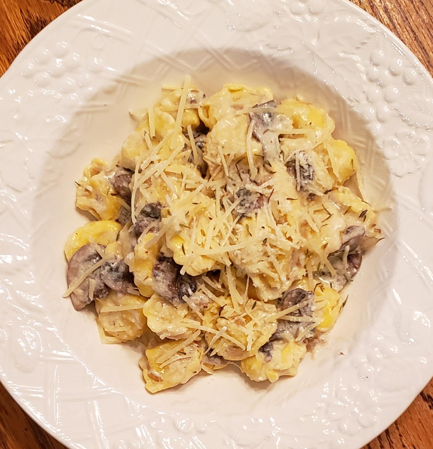 Creamy Mushroom Tortellini Alfredo Laura D