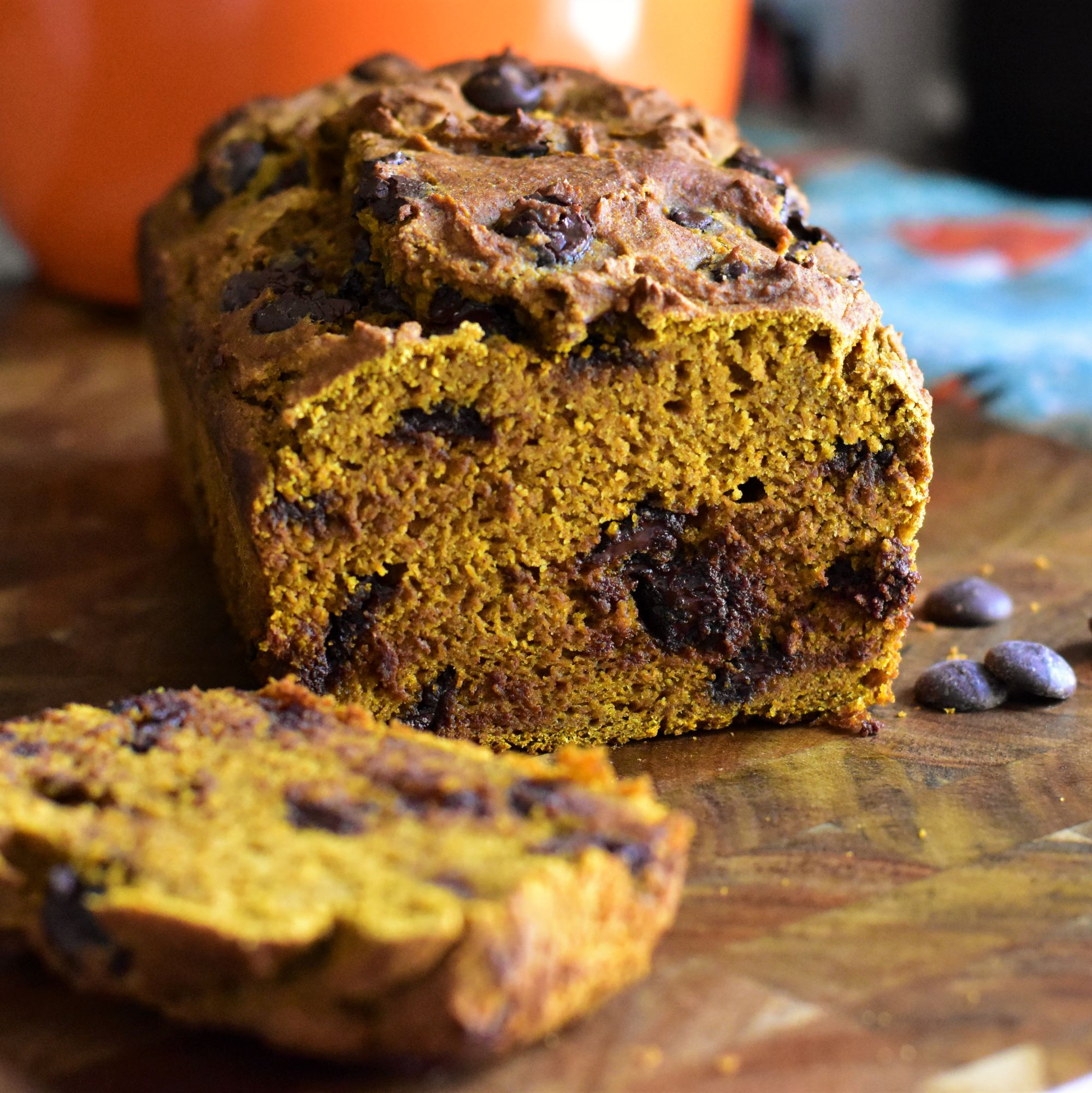 Whole Wheat Pumpkin Bread with Chocolate Chips