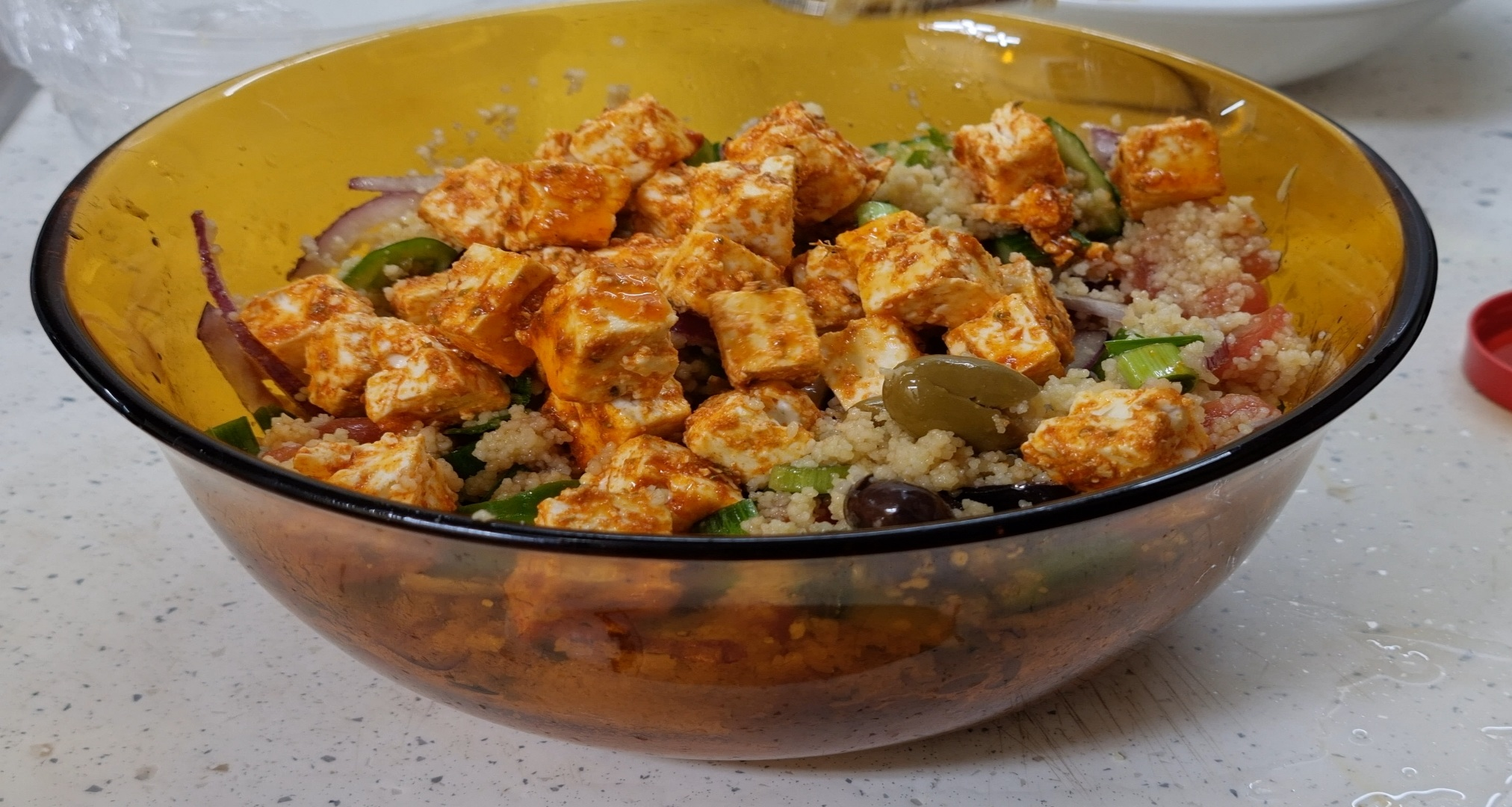 Greek Salad with Couscous and Spicy Feta Cheese