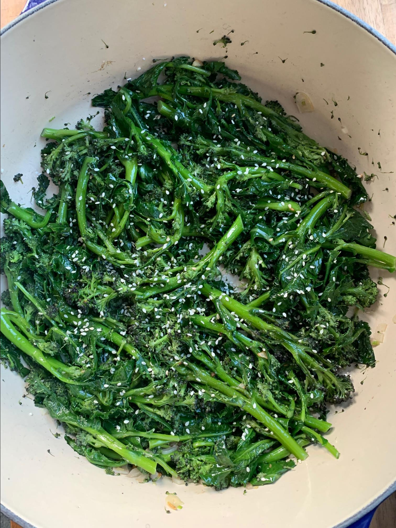Garlic-Sesame Purple Sprouting Broccoli