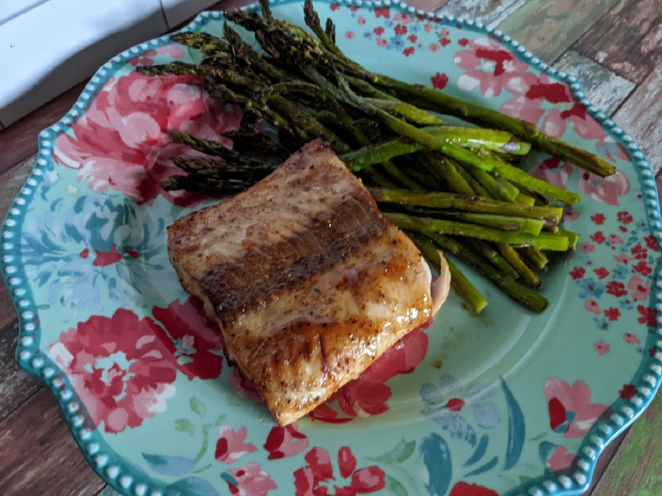 Air Fryer Salmon and Asparagus for One