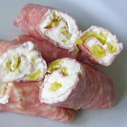 Salami, Cream Cheese, and Pepperoncini Roll-Ups