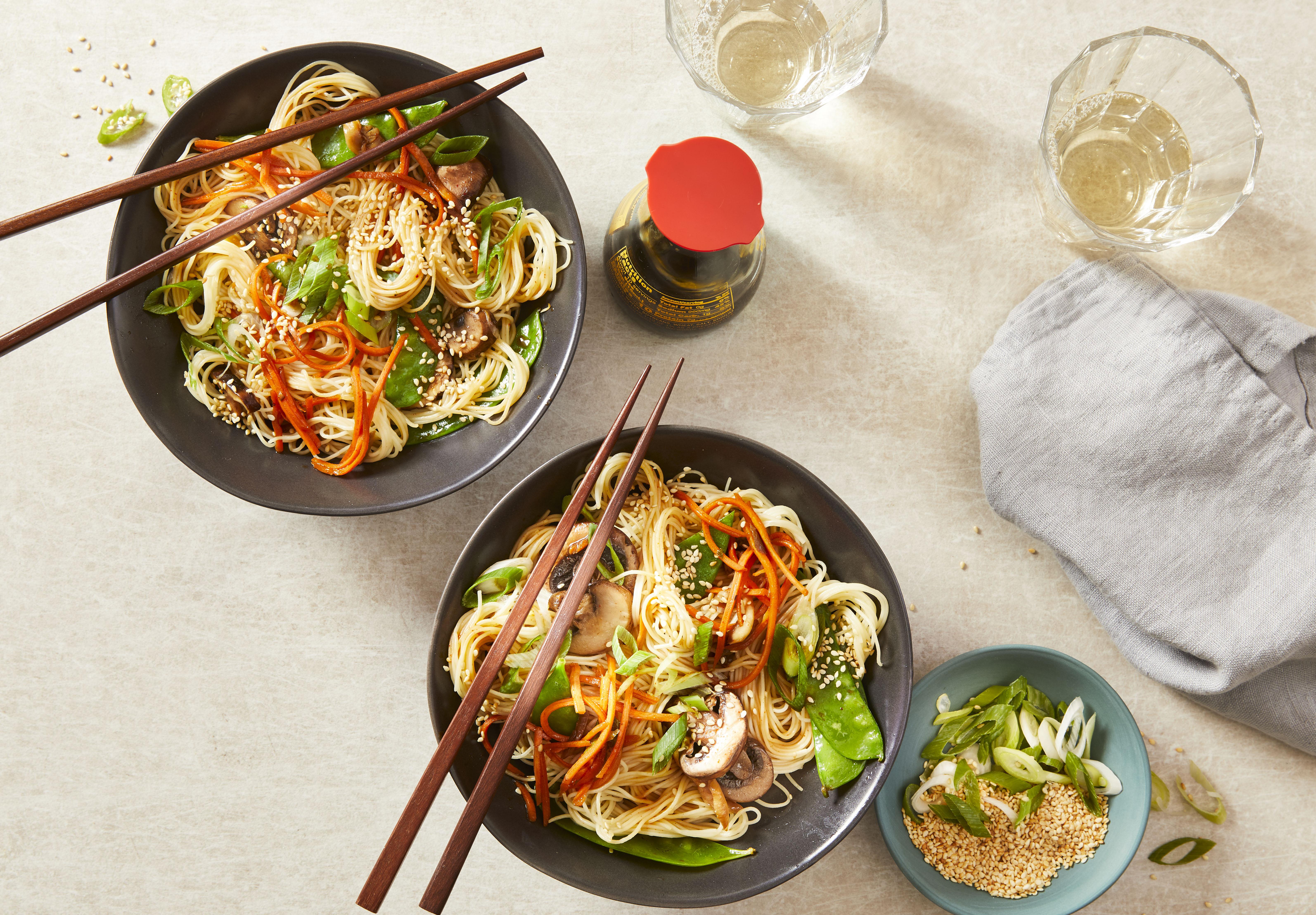 Quick Noodle-Veggie Bowls