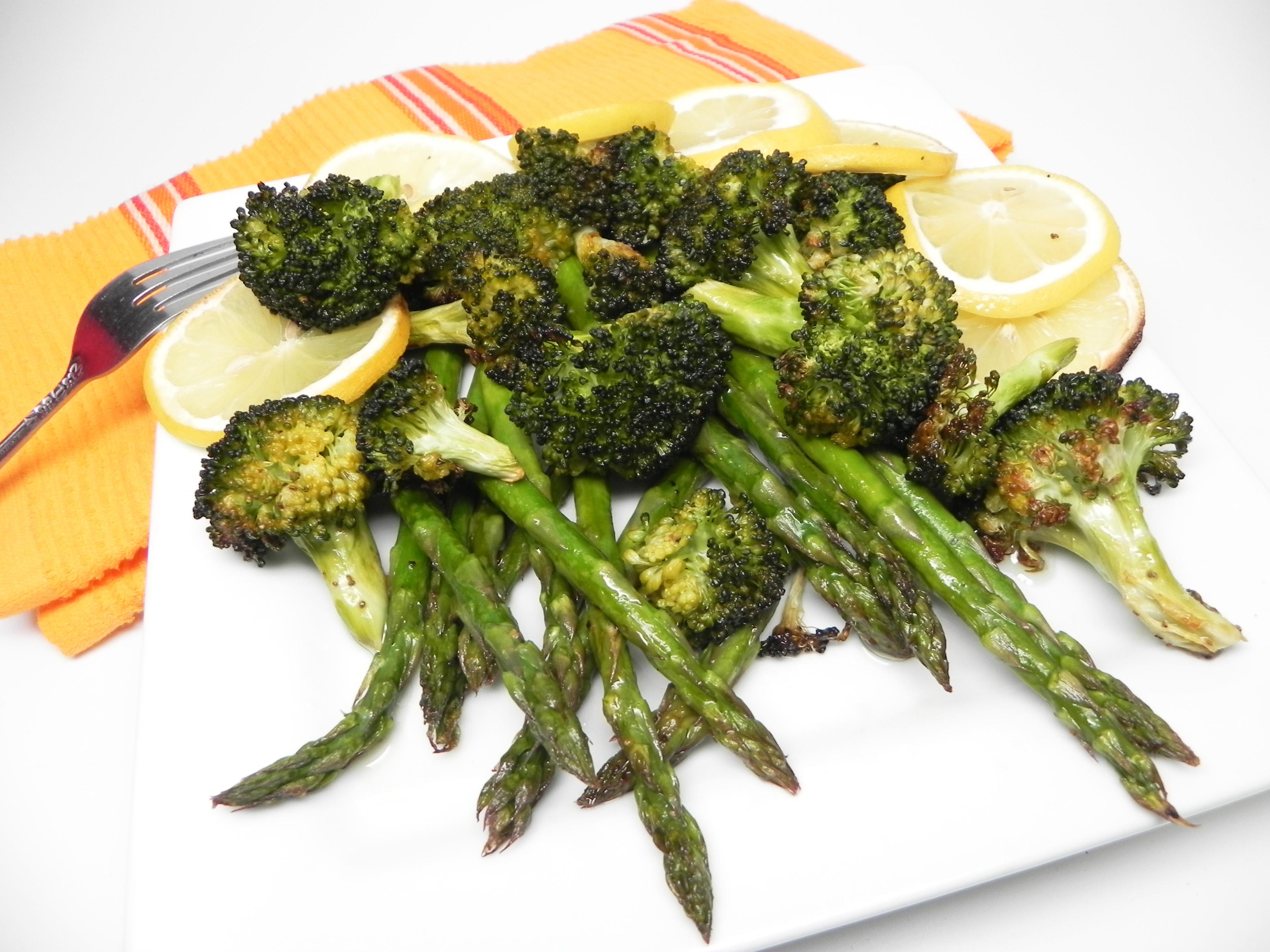 Lemon-Roasted Broccoli and Asparagus