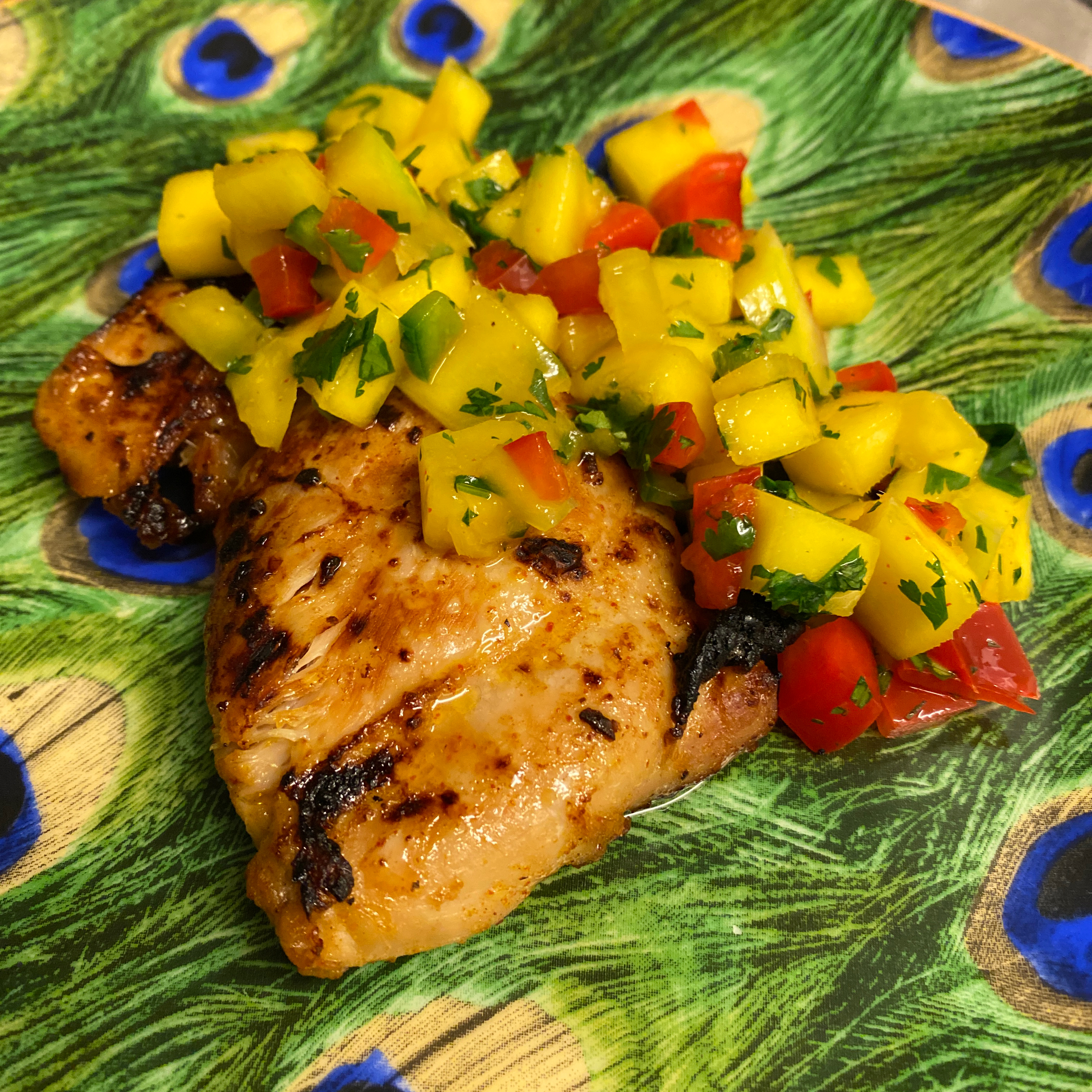 Broiled Chicken Thighs with Mango Salsa