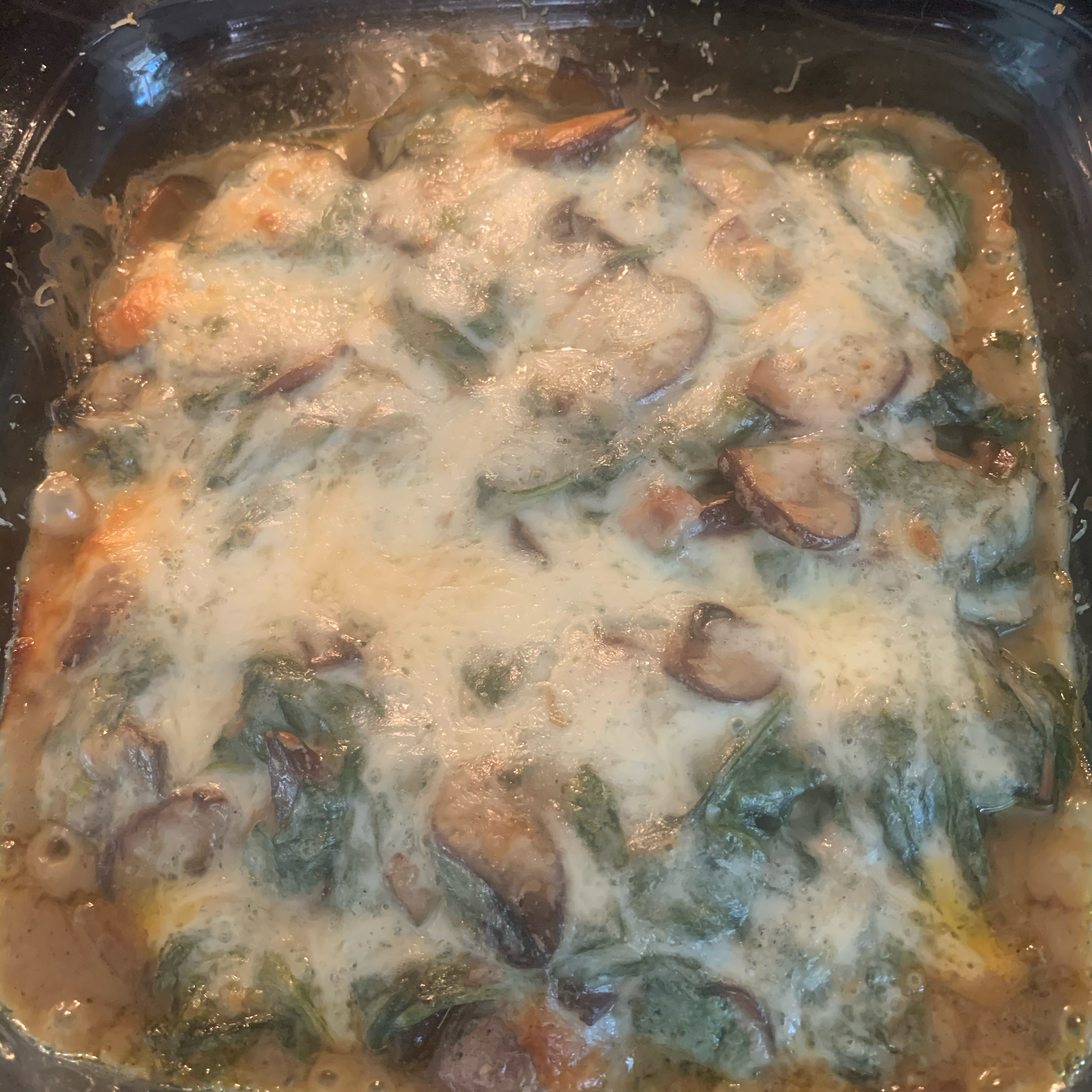 Smothered Chicken with Spinach, Potatoes, and Mushrooms