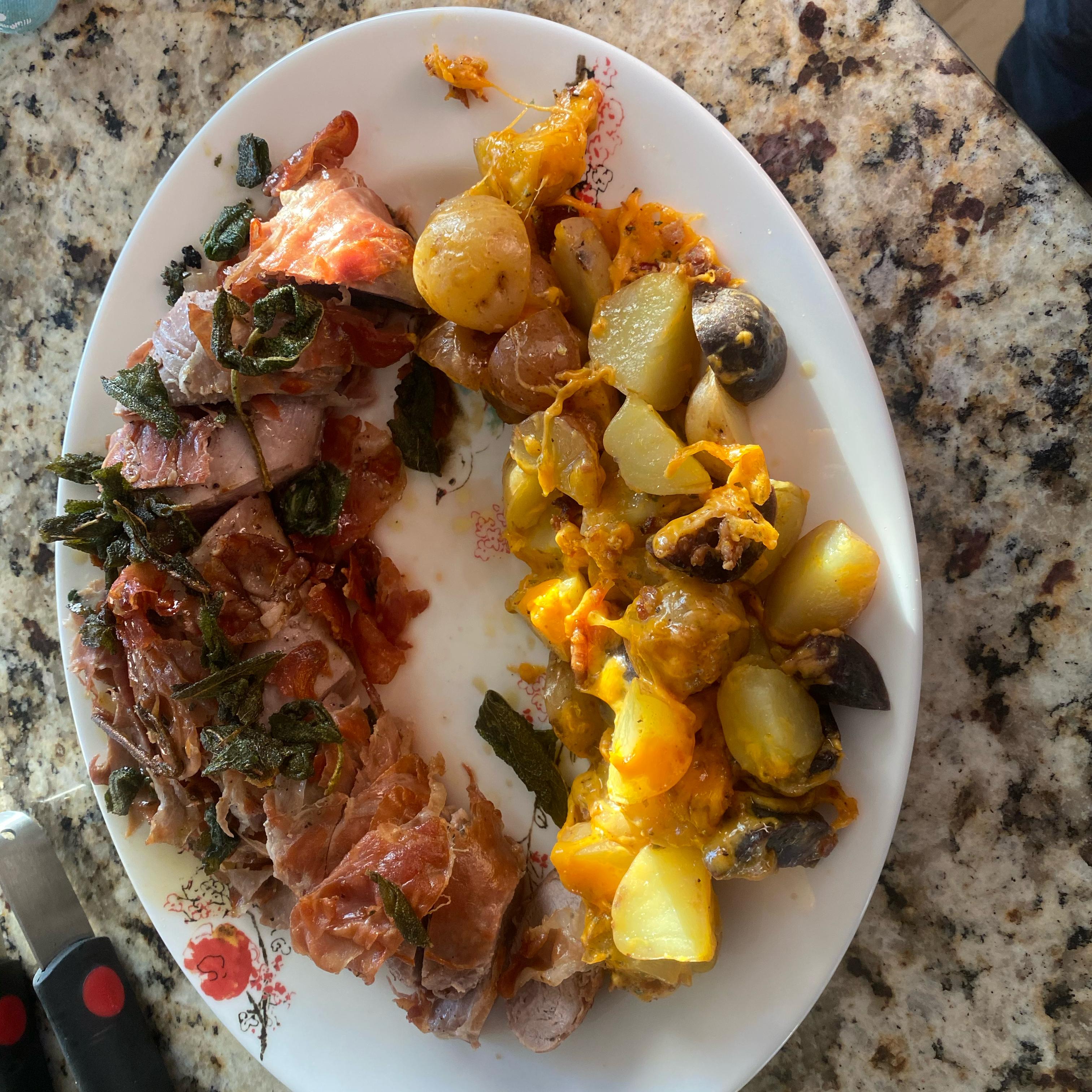 Prosciutto-Wrapped Pork Tenderloin with Crispy Sage Red Corvett