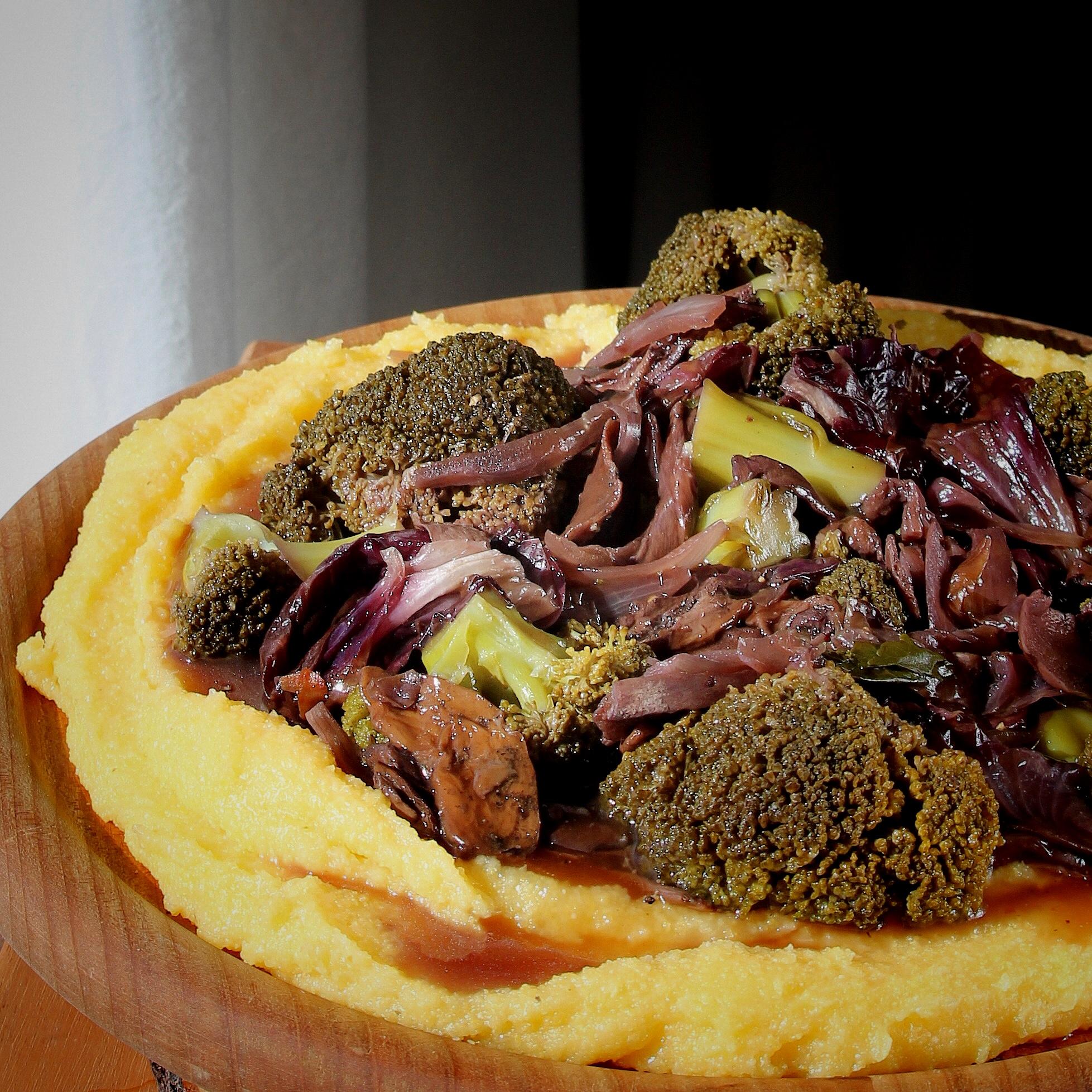 Braised Broccoli and Porcini with Polenta
