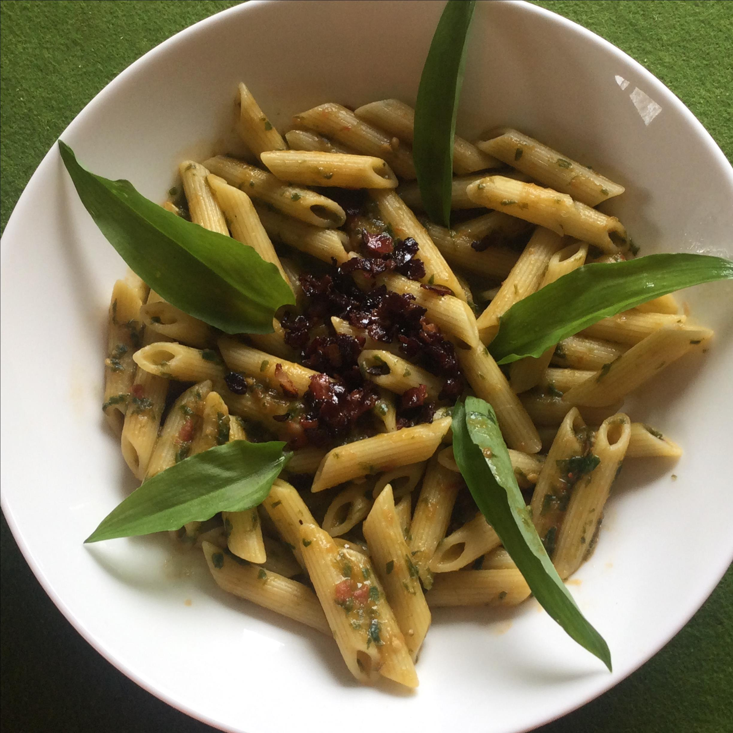 Ramp Pasta with Tomato and Bacon