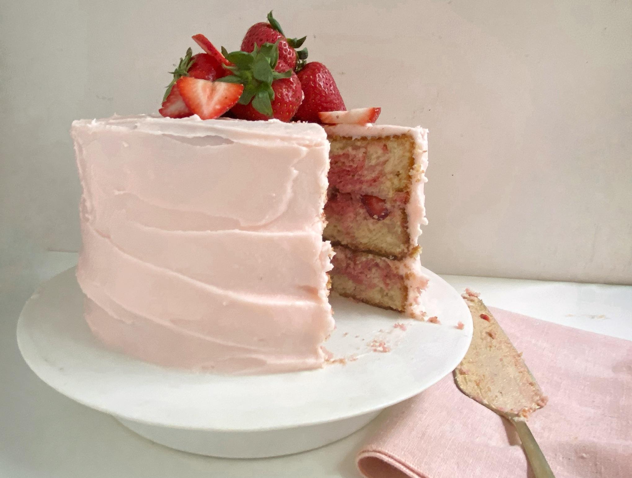 Fresh Strawberry Marble Cake