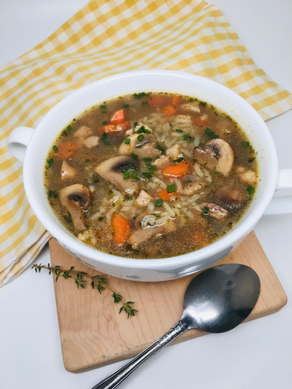 Cremini Mushroom and Rice Soup