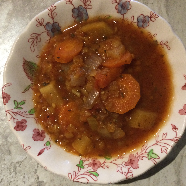 Slow Cooker Lentil and Ham Soup Debi