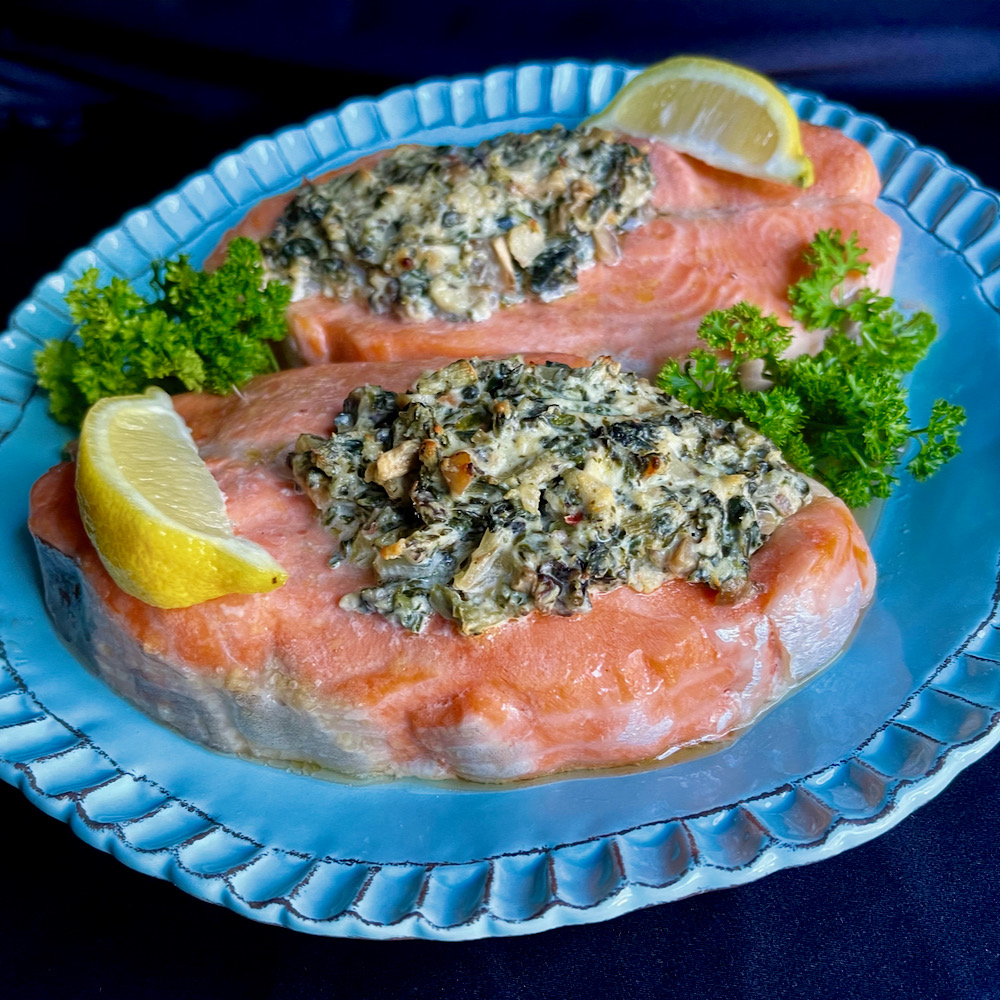 Salmon Fillets with Spinach for Two