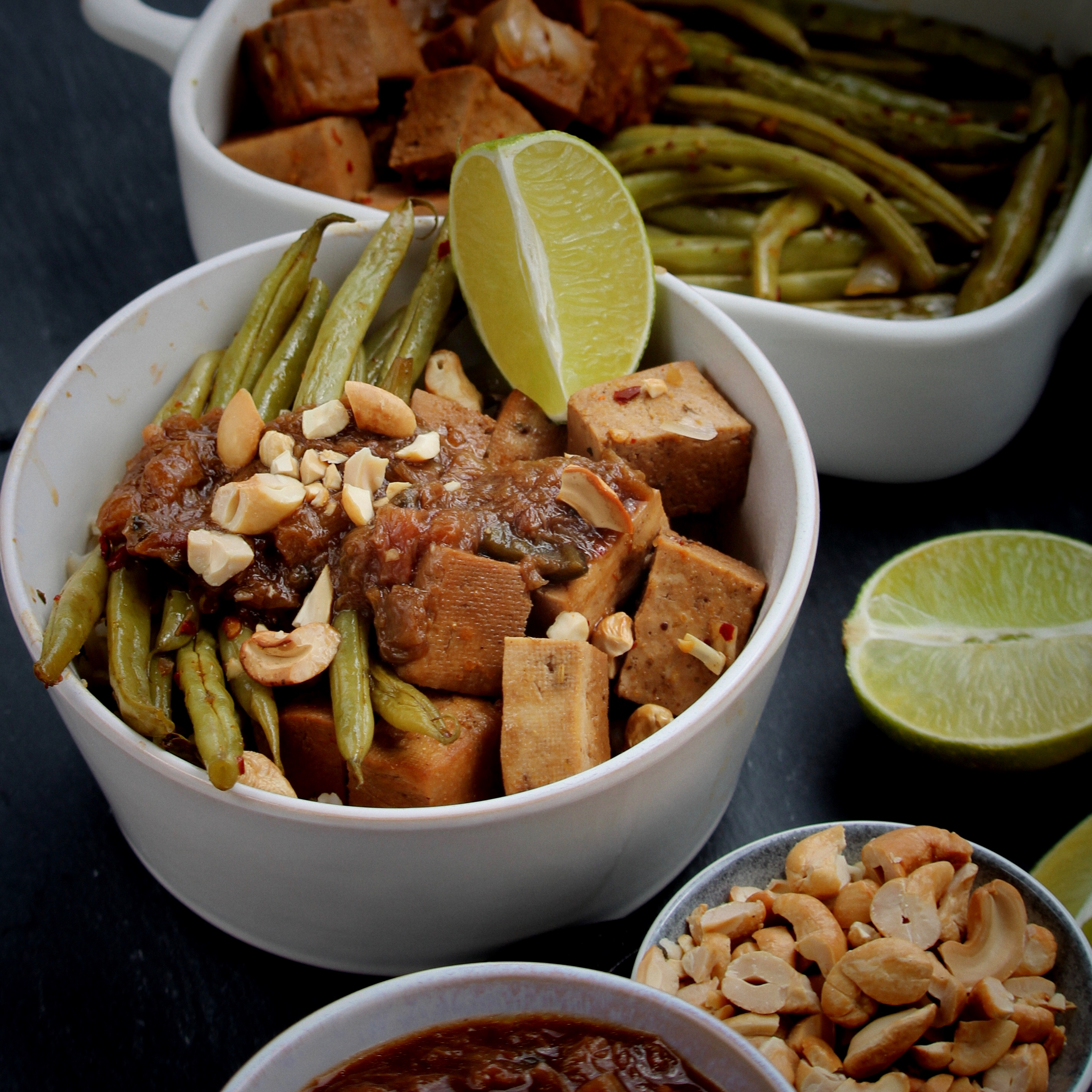 Baked Tofu and Green Beans with Spicy Rhubarb Sauce