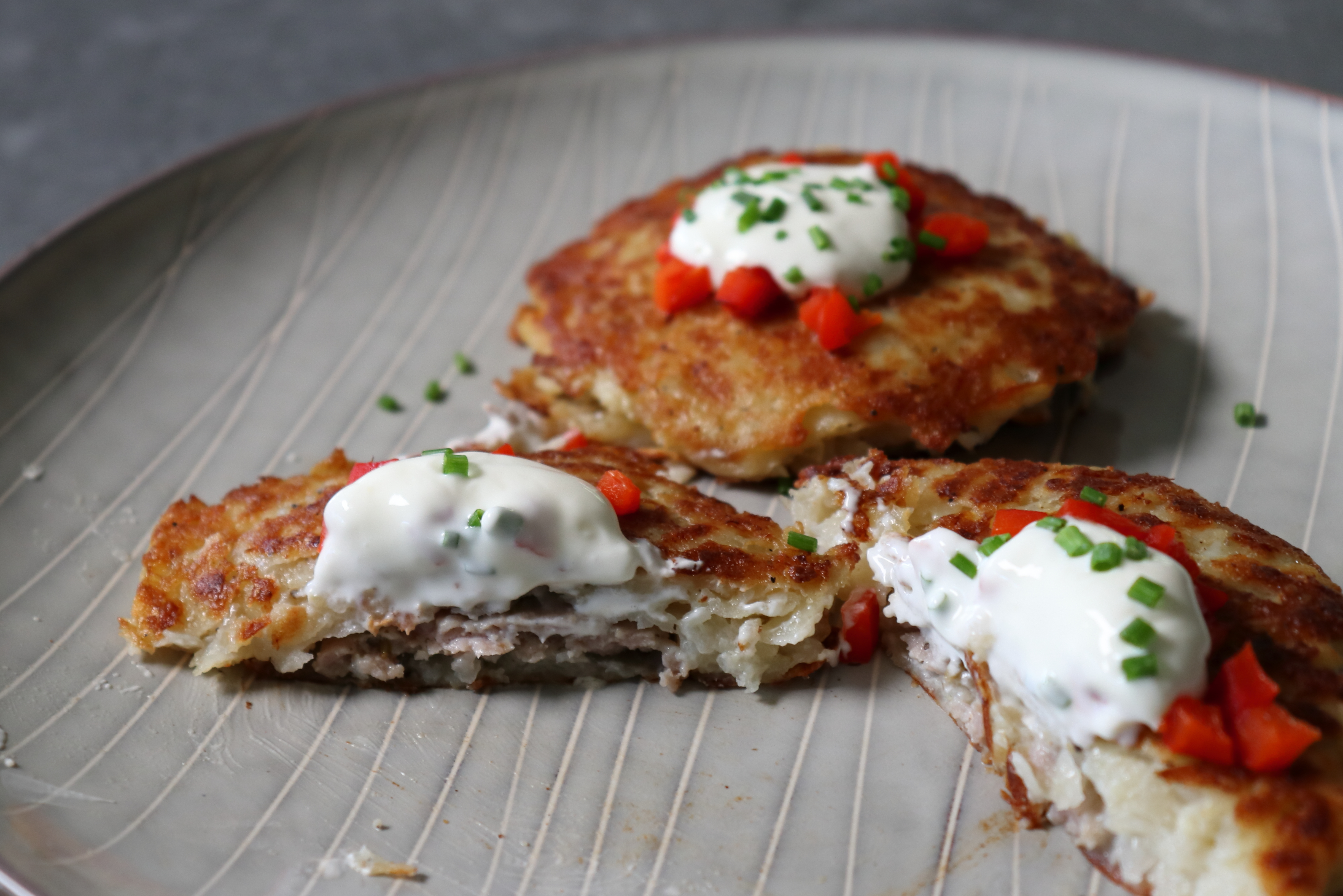 Sausage-Stuffed Potato Pancakes Chef John