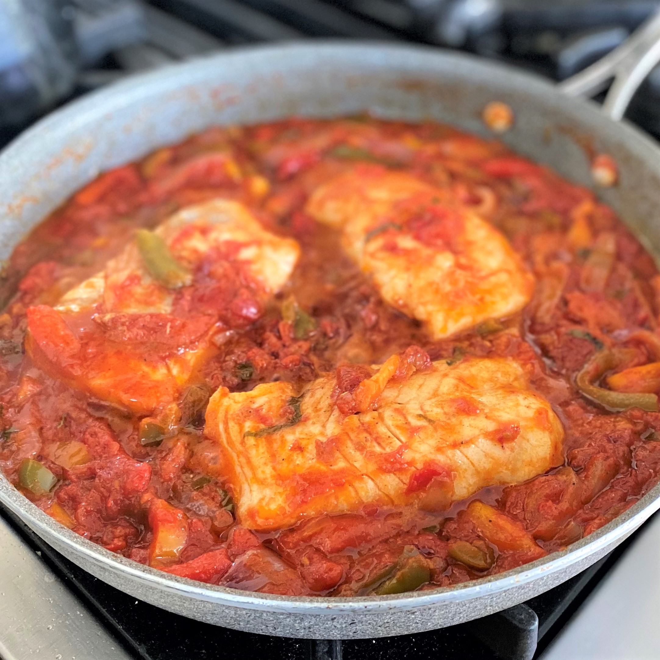 Skillet Tomato-Braised Cod with Bell Peppers and Ouzo Diana Moutsopoulos