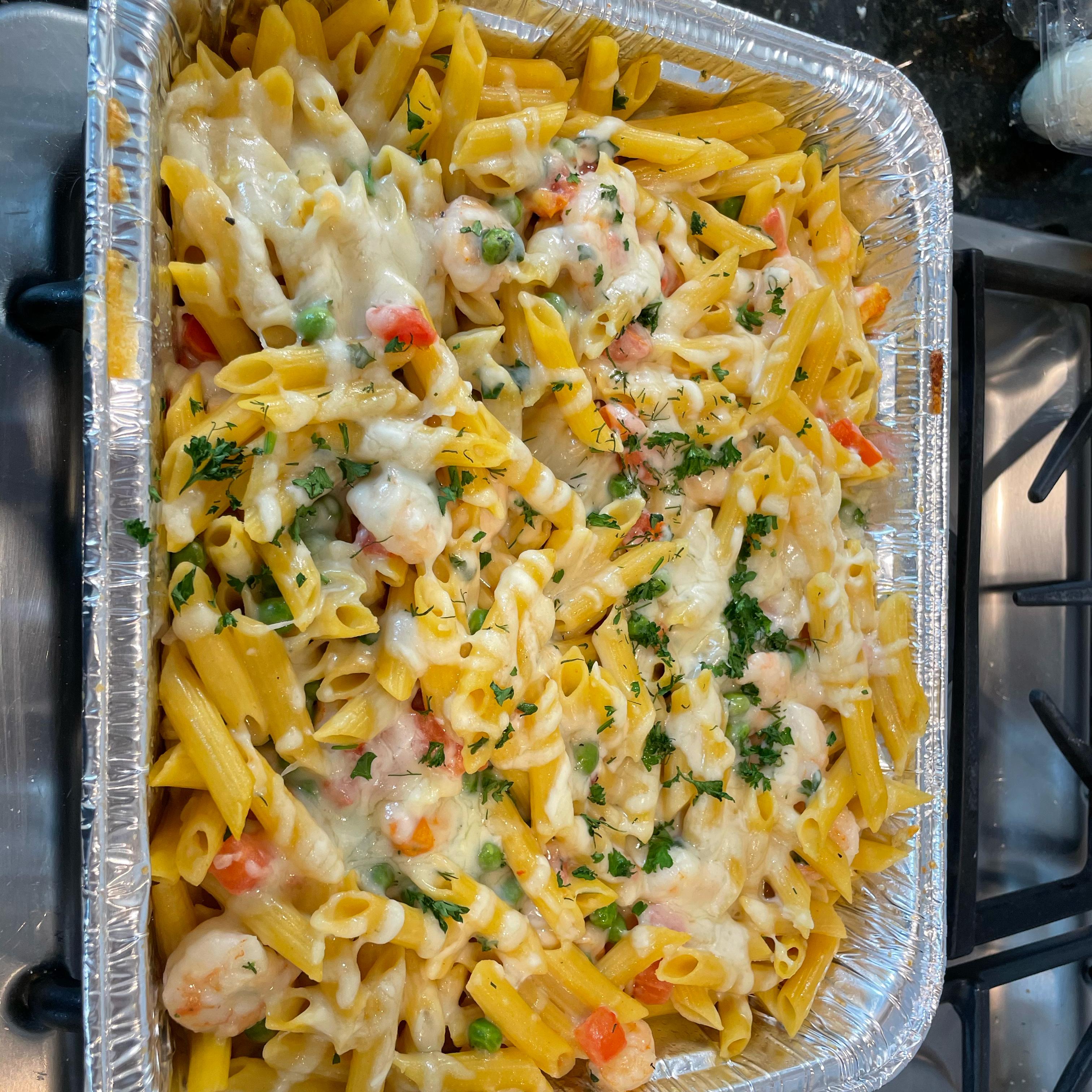 Garlic Shrimp Pasta Bake