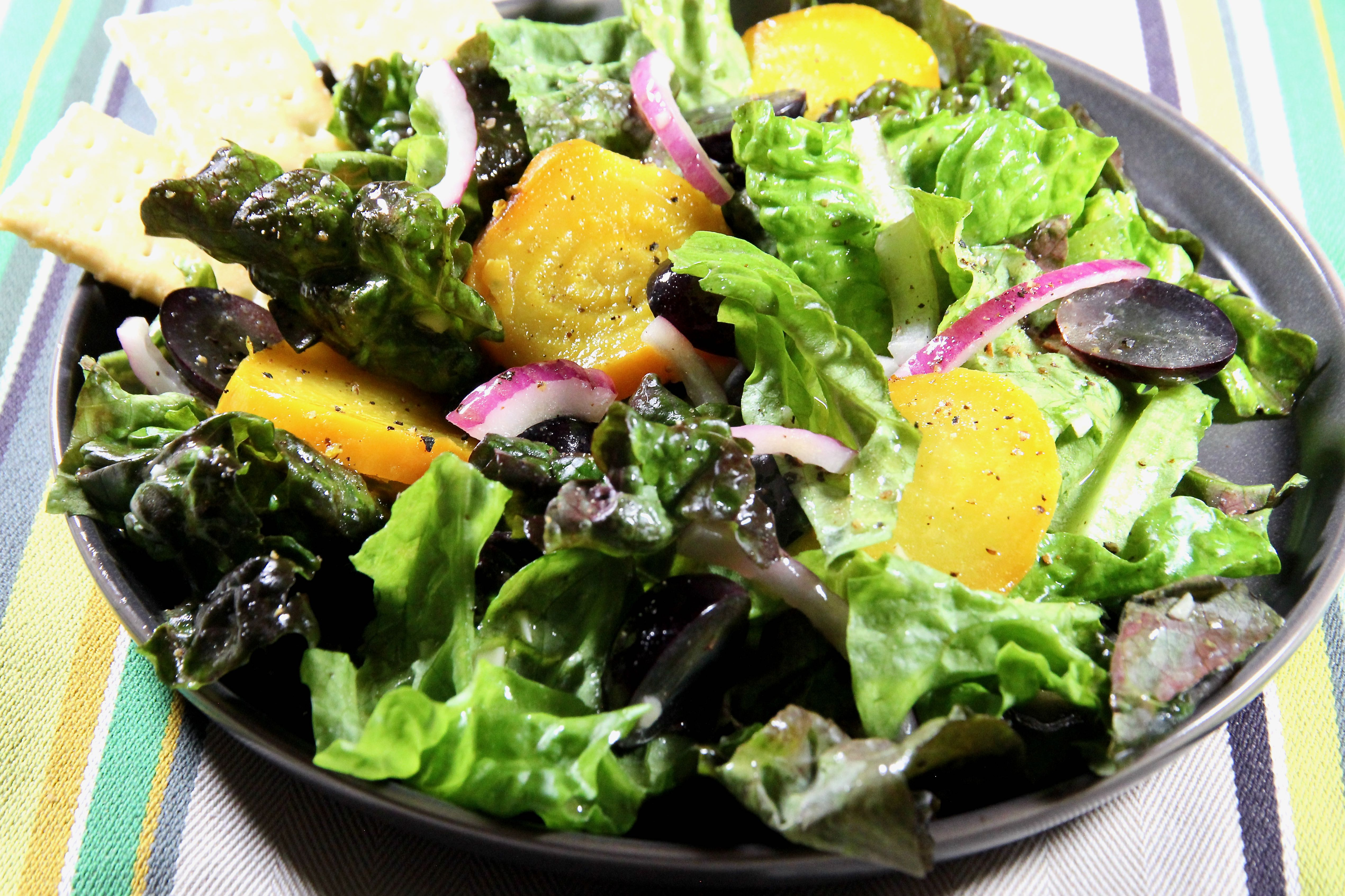 Red Leaf Lettuce Salad with Golden Beets and Grapes
