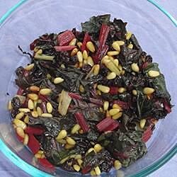 spanish style swiss chard with raisins and pine nuts