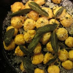 Sweet Potato Gnudi with Sage Butter Fava Bean