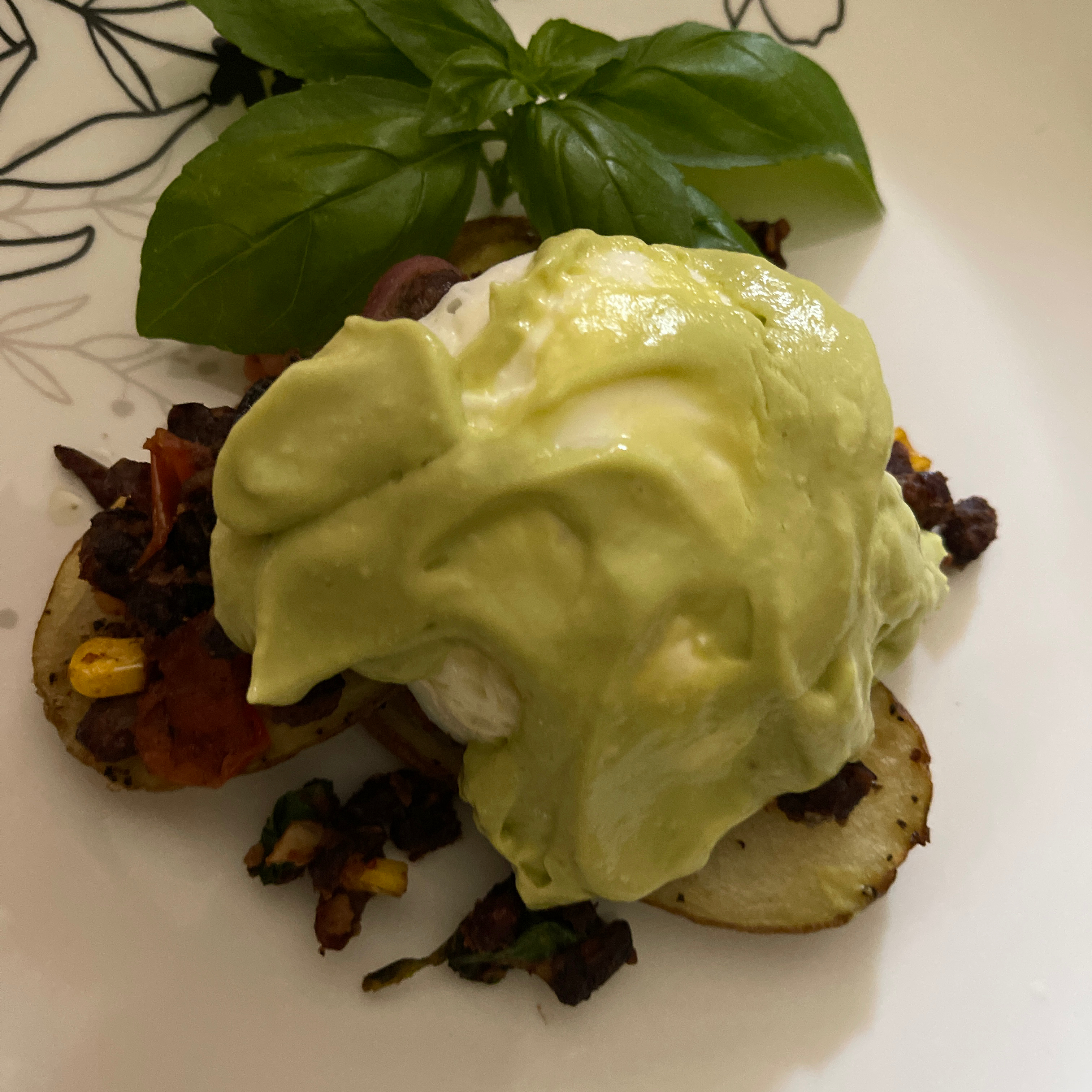 Tex-Mex Eggs Benedict with Grilled Potato Slabs and Avocado-Lime Hollandaise