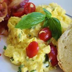 Creamy Cheesy Scrambled Eggs with Basil naples34102