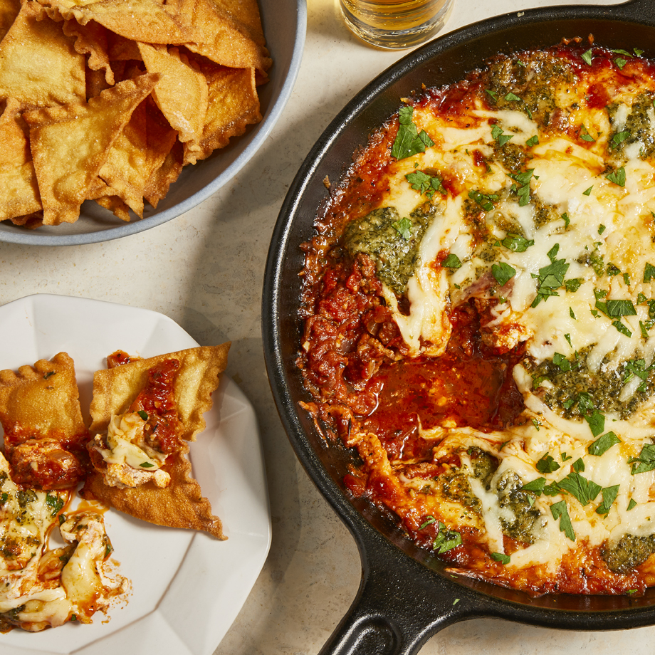 Skillet Lasagna Dip with Pasta Chips Trusted Brands