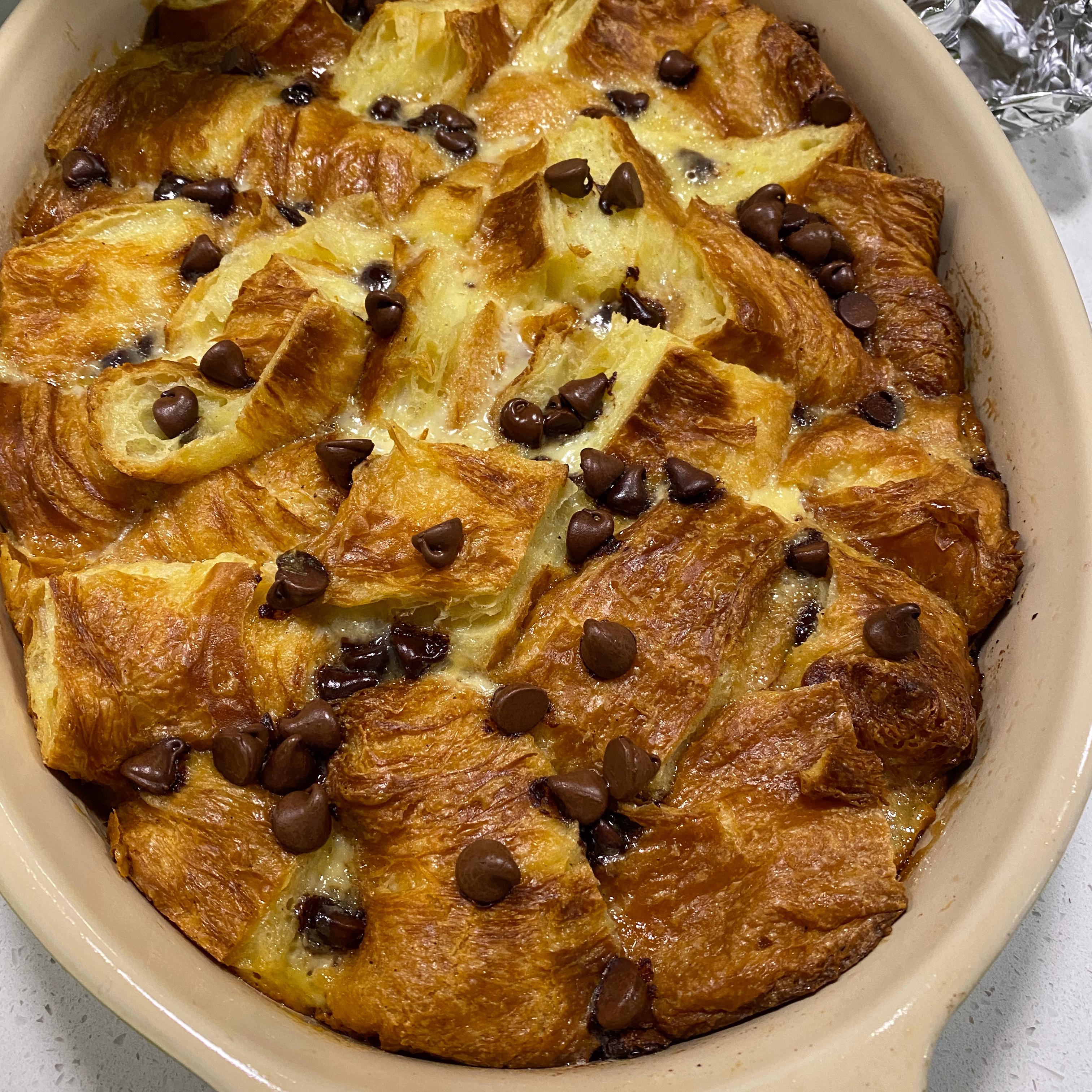 Chocolate Croissant Bread Pudding