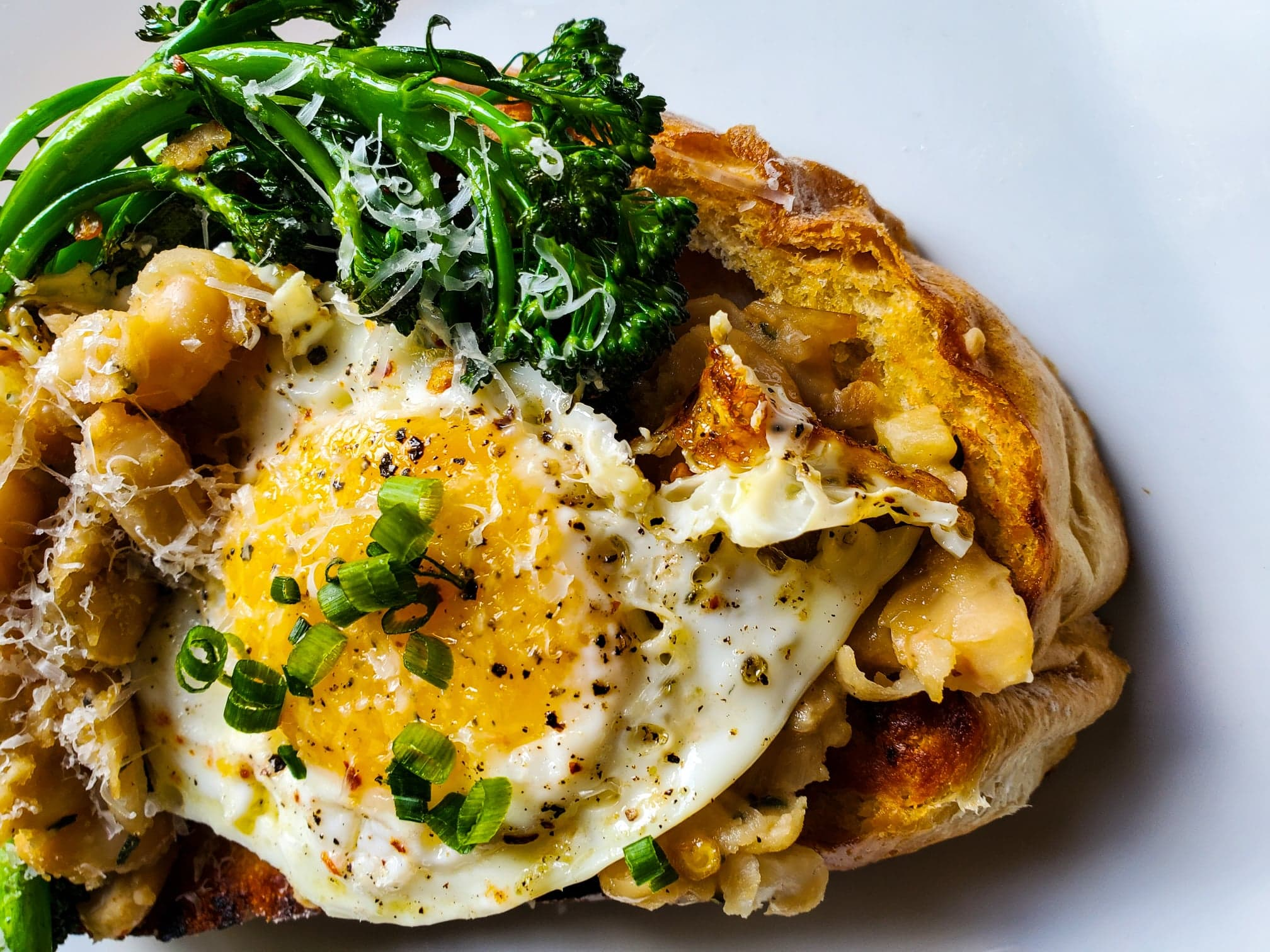 White Bean and Broccolini Brunch Toasts