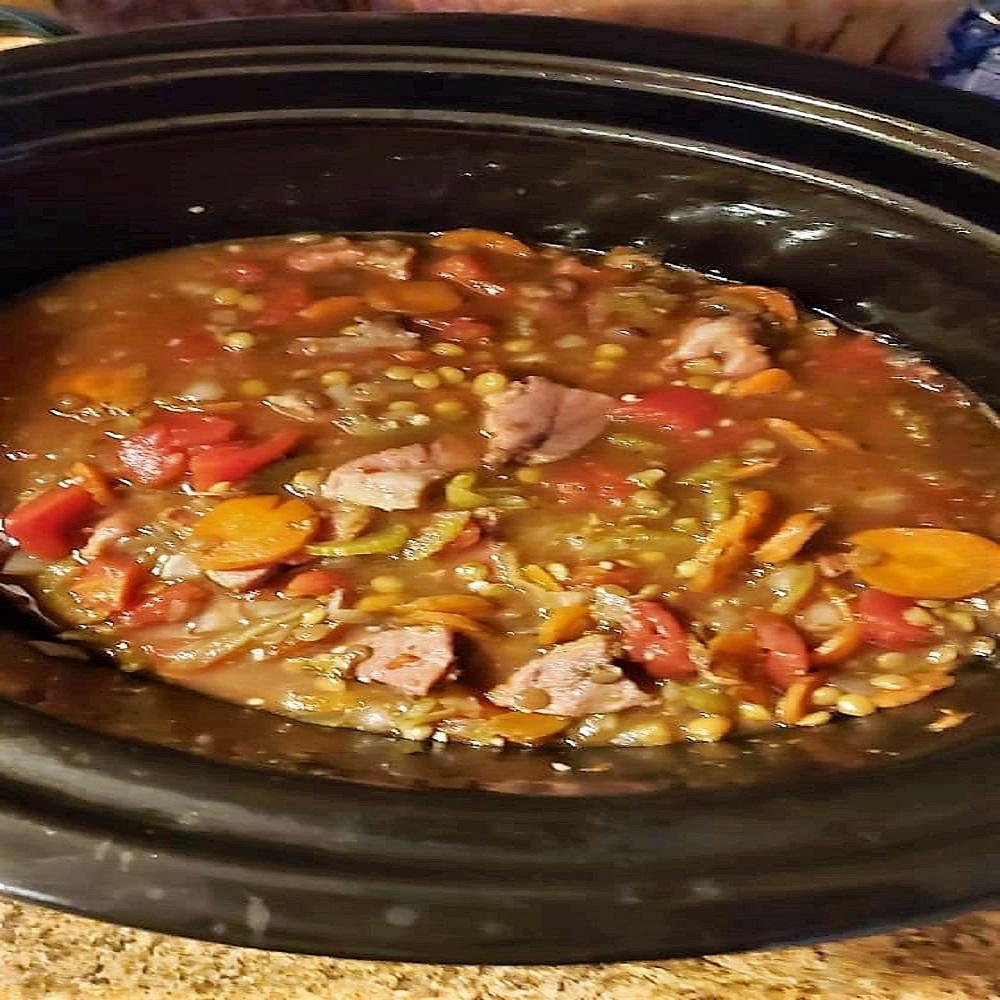 Slow Cooker Lentil and Ham Soup