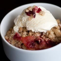 Apple Crisp with Cranberry Sauce