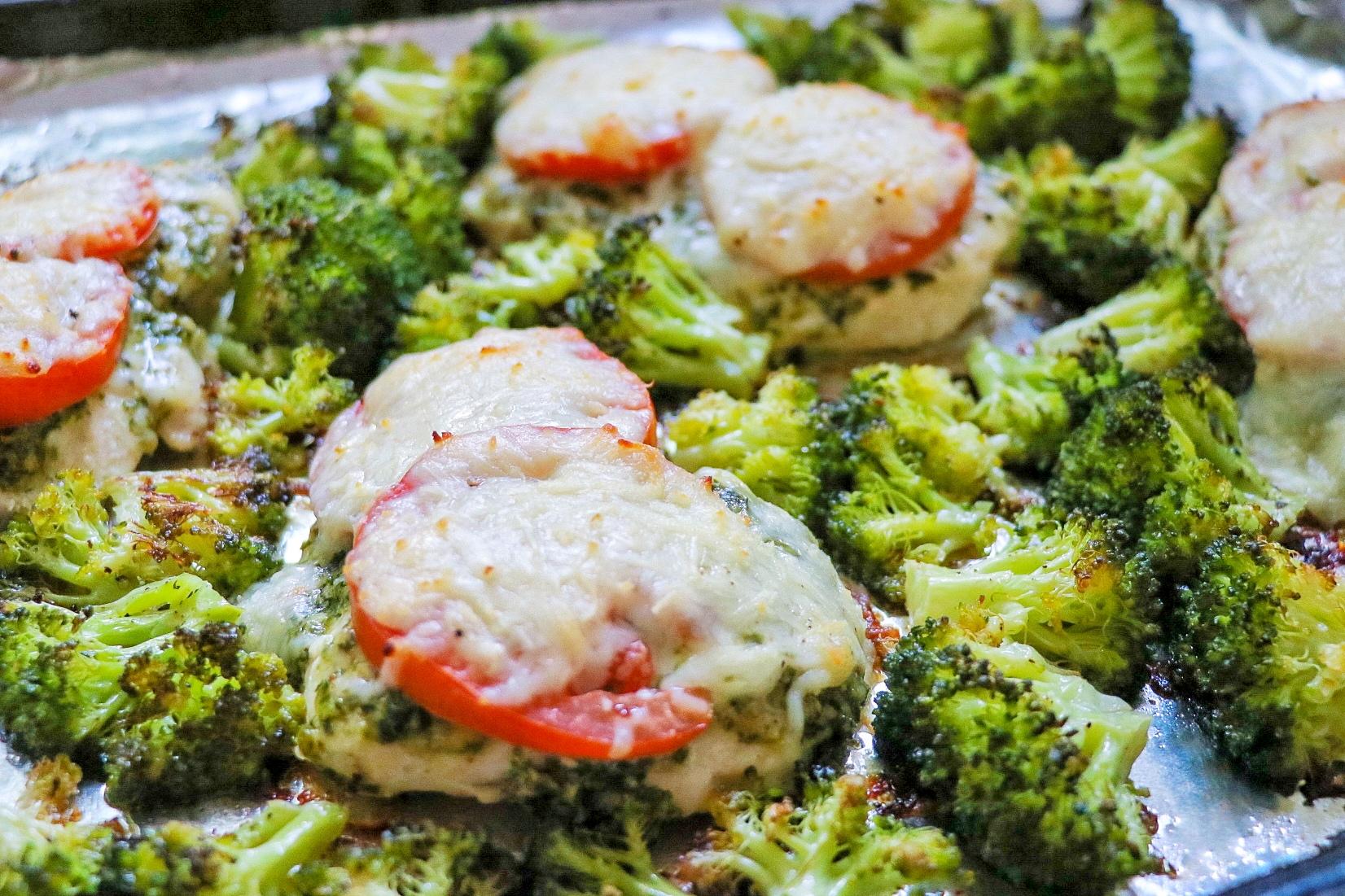 Sheet Pan Chicken with Mozzarella, Pesto, and Broccoli