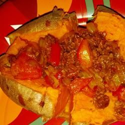 Baked Sweet Potato with Onions and Red Peppers Zoitsa