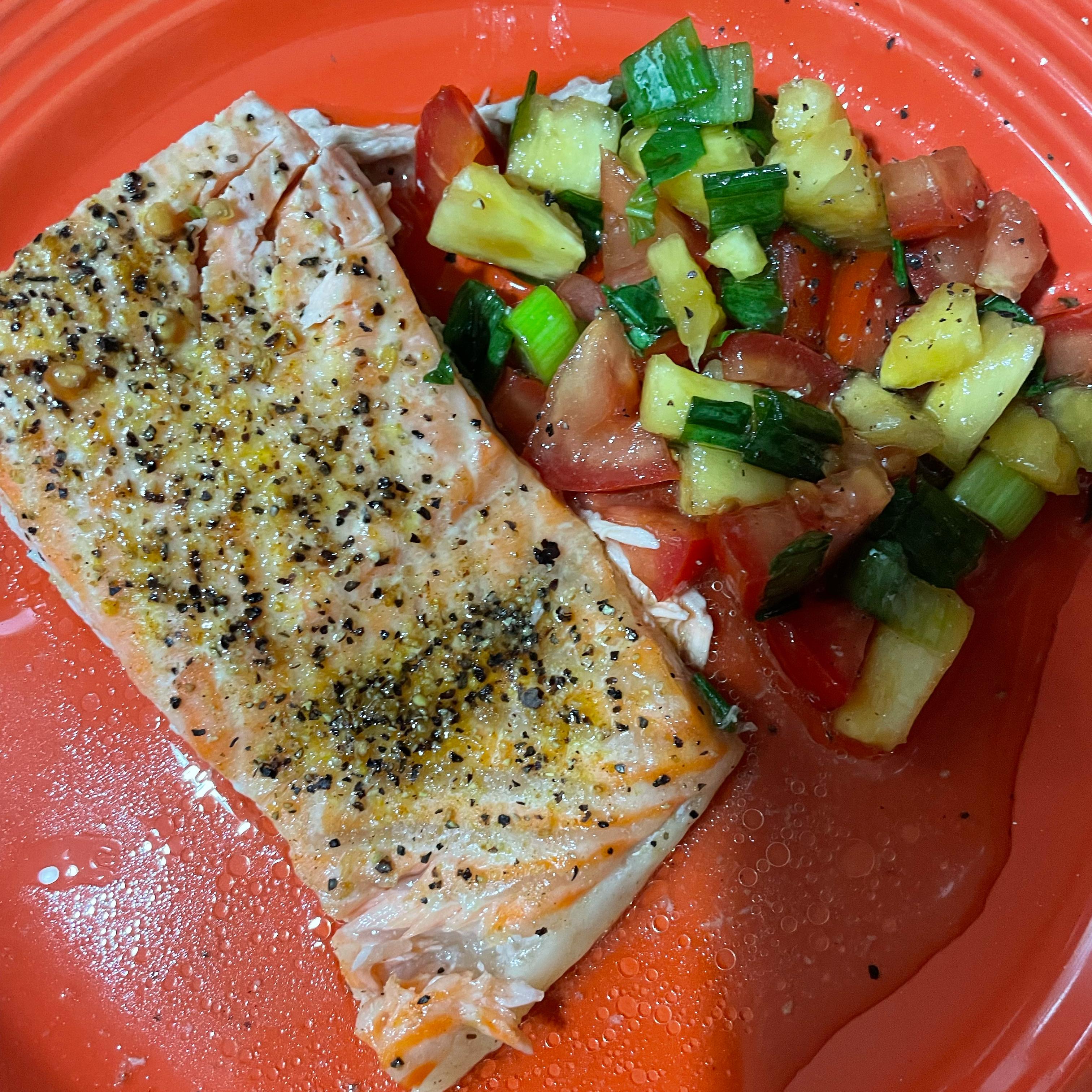 Salmon with Pineapple Tomato Salsa