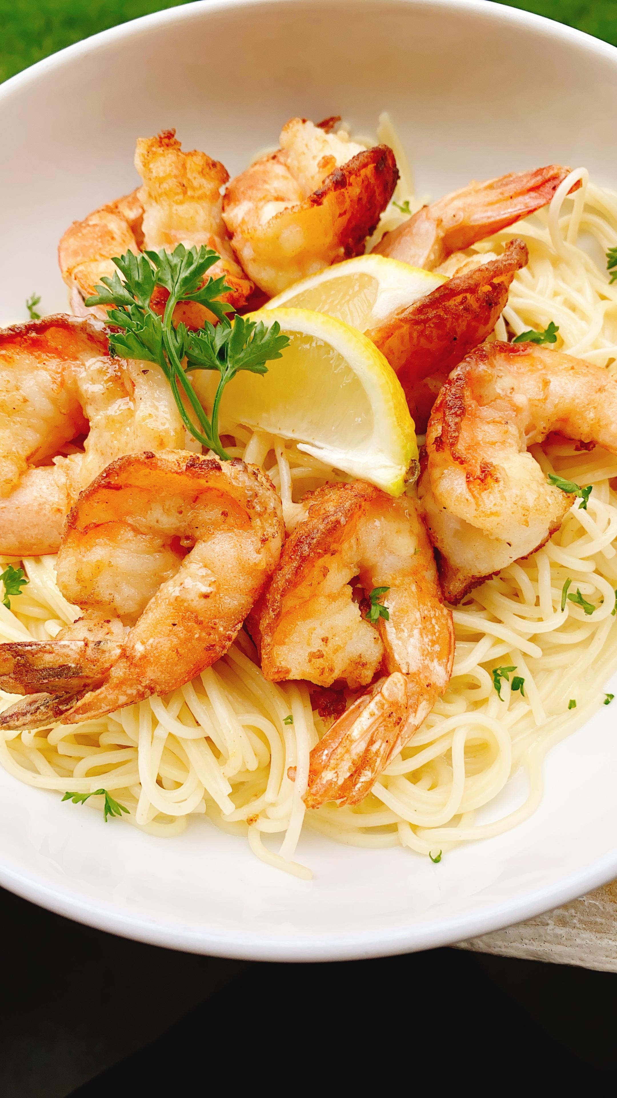 Date Night Shrimp Francese over Angel Hair Pasta