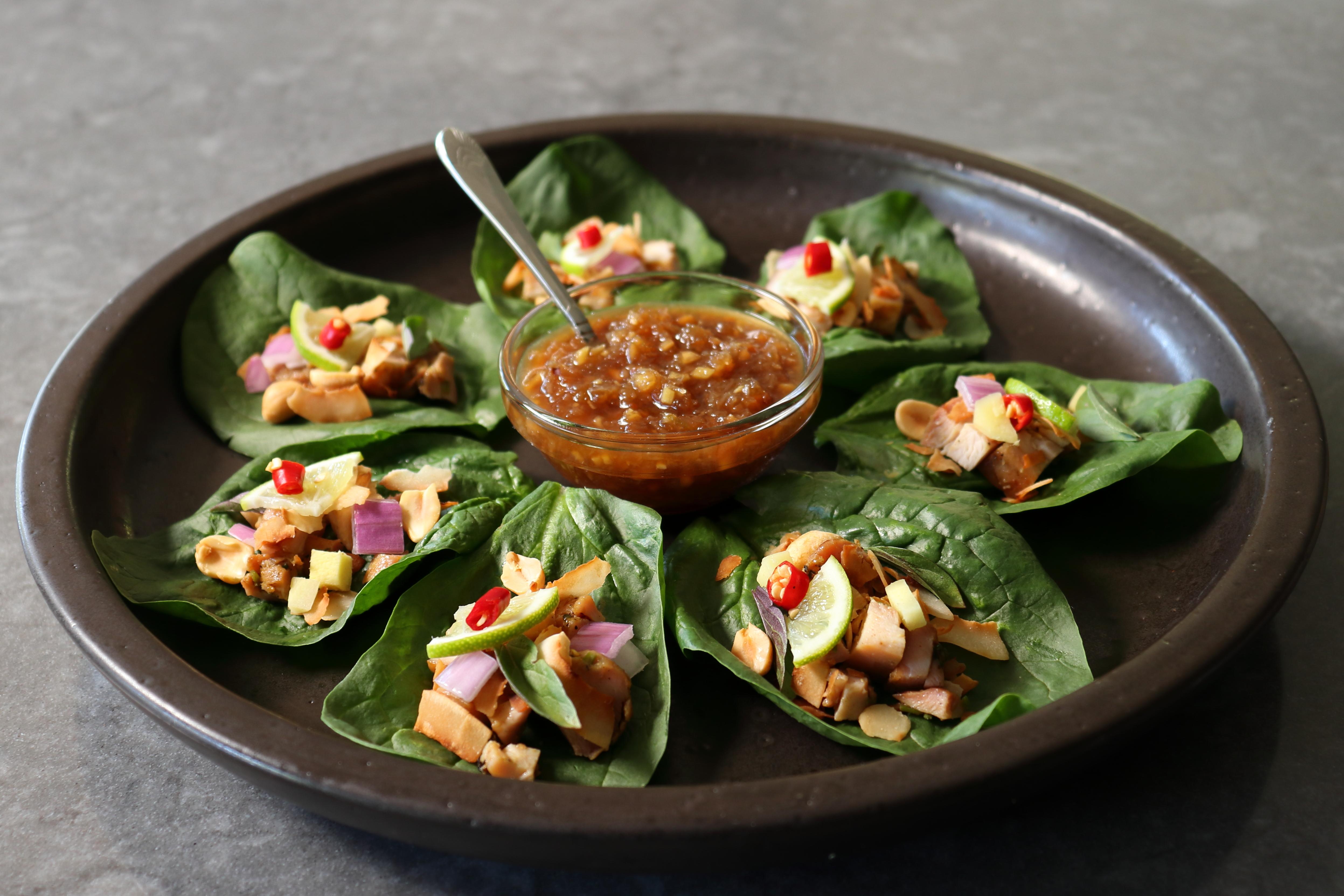 "One-Bite Thai ""Flavor Bomb"" Salad Wraps (Miang Kham)"