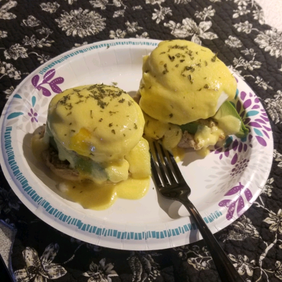 Sausage Avocado Benedict with White Cheddar Hollandaise wanabechef